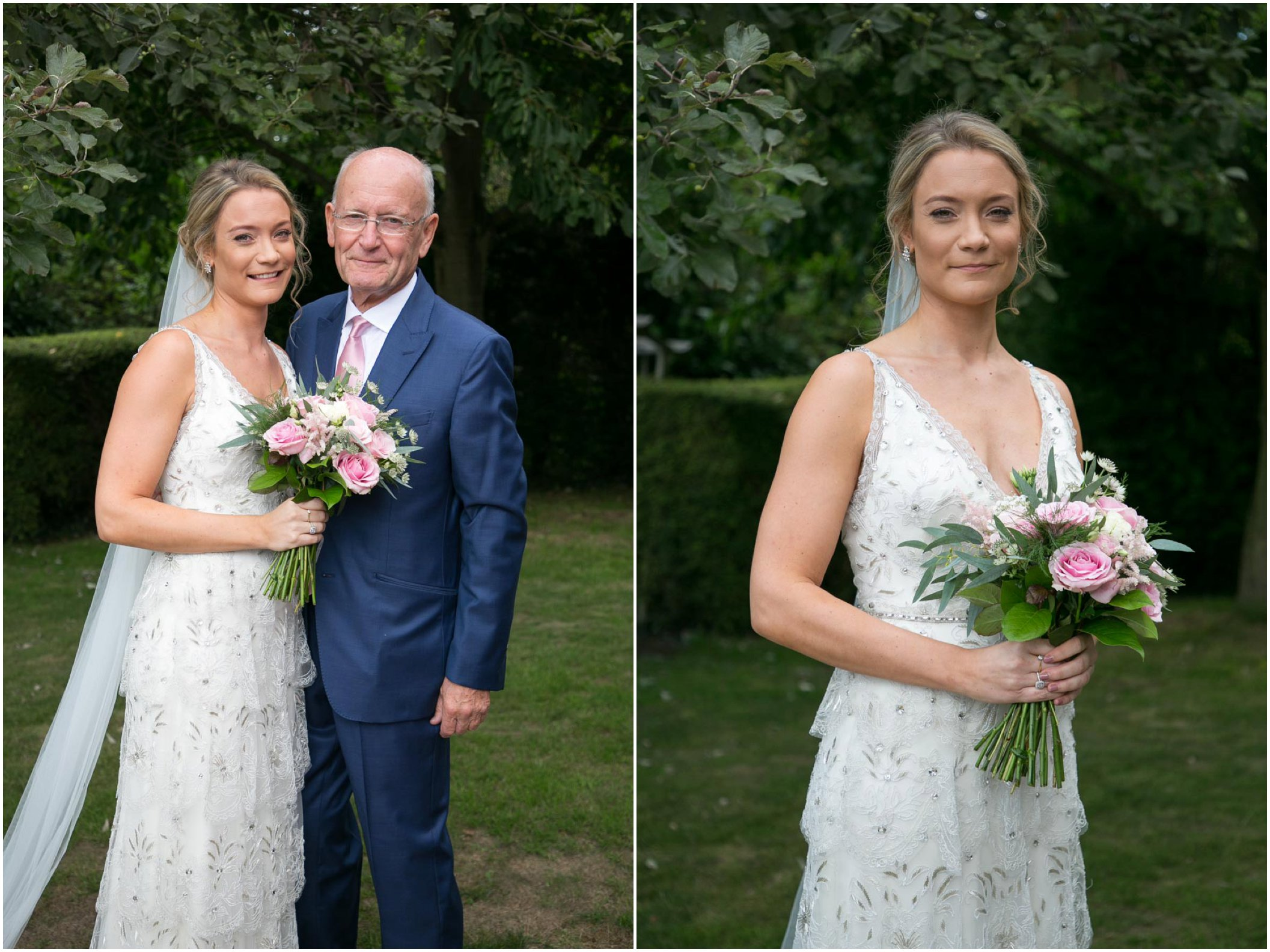 bride in jenny packham wedding dress with her father befroe the set off to the wedding