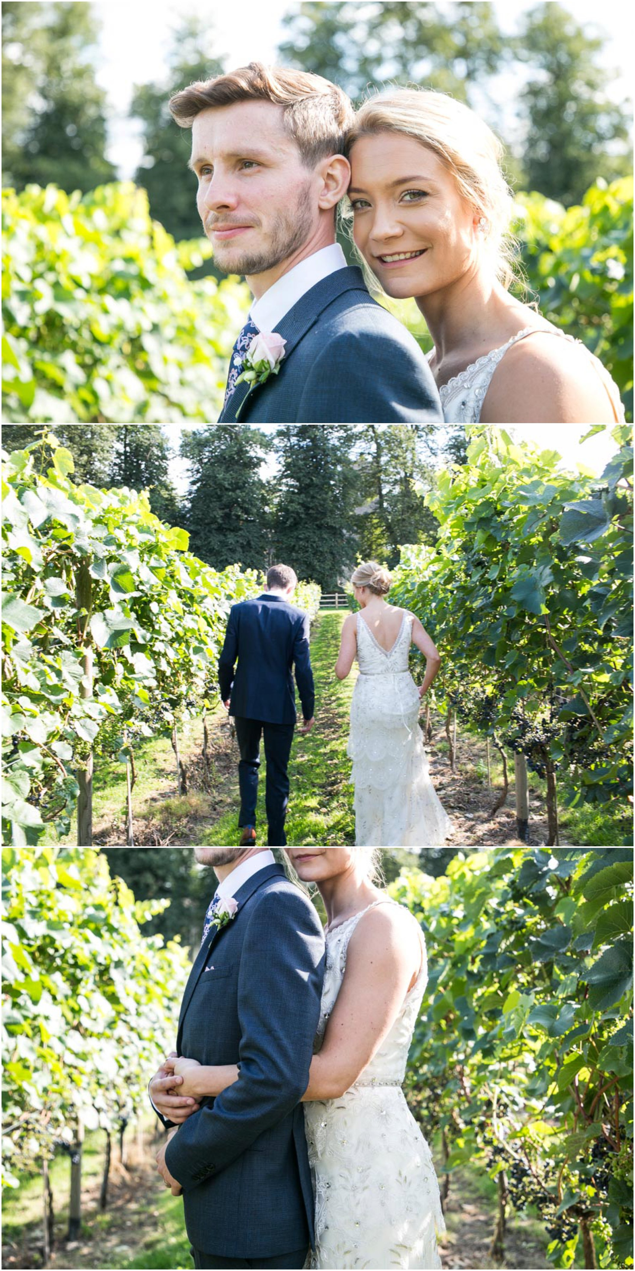 bride and groom portrait photos as they stand and walk in vineyards