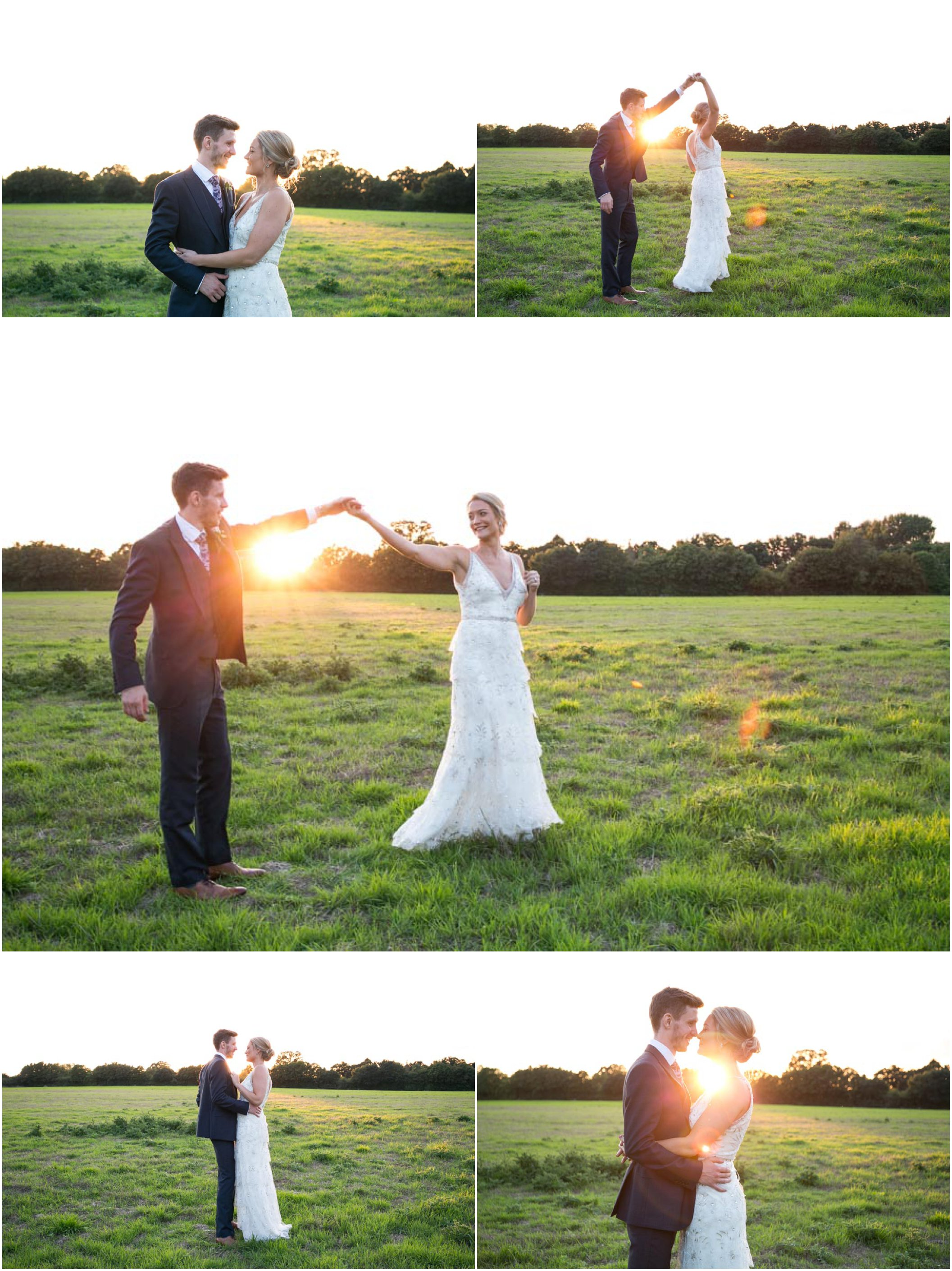 bride and groom dancing in the golden light of summer evening