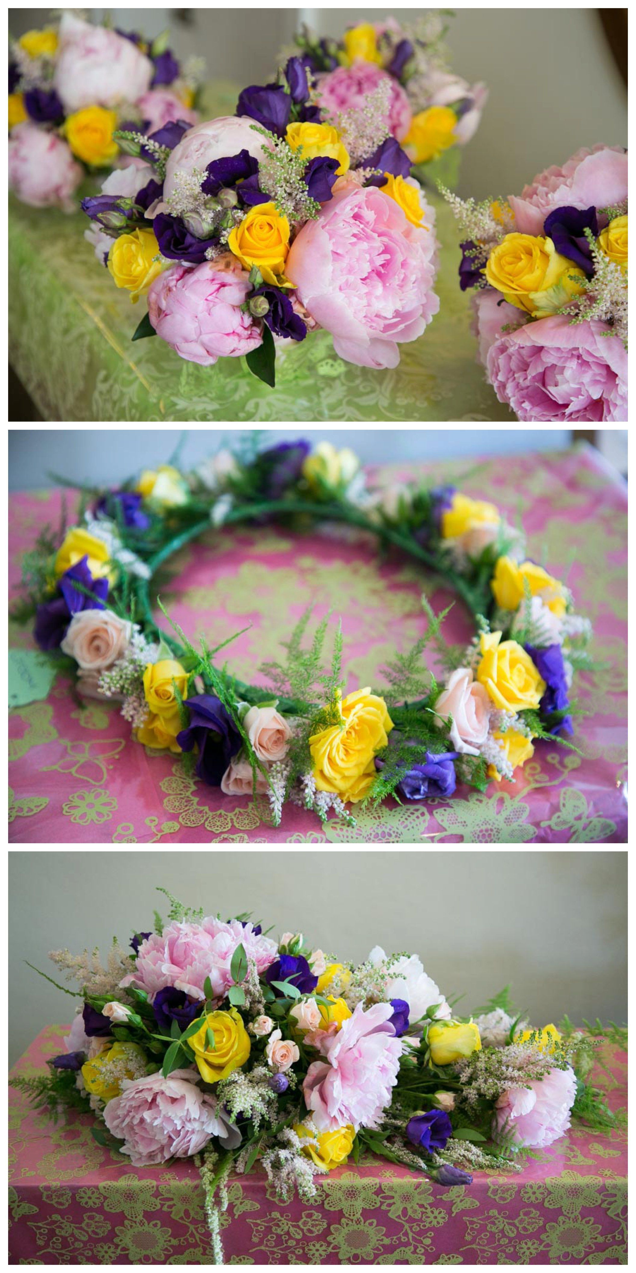 bright pink yellow and purple wedding flowers and flower crown