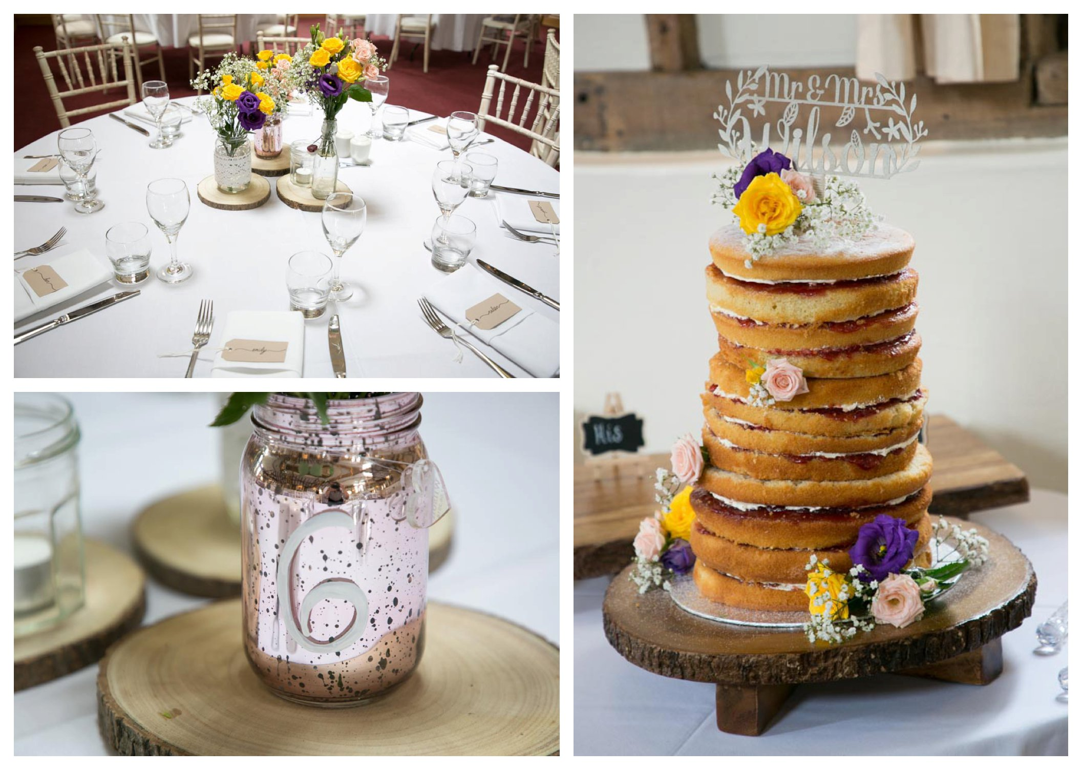 table setting, naked wedding cake, numbered jard for table numbers