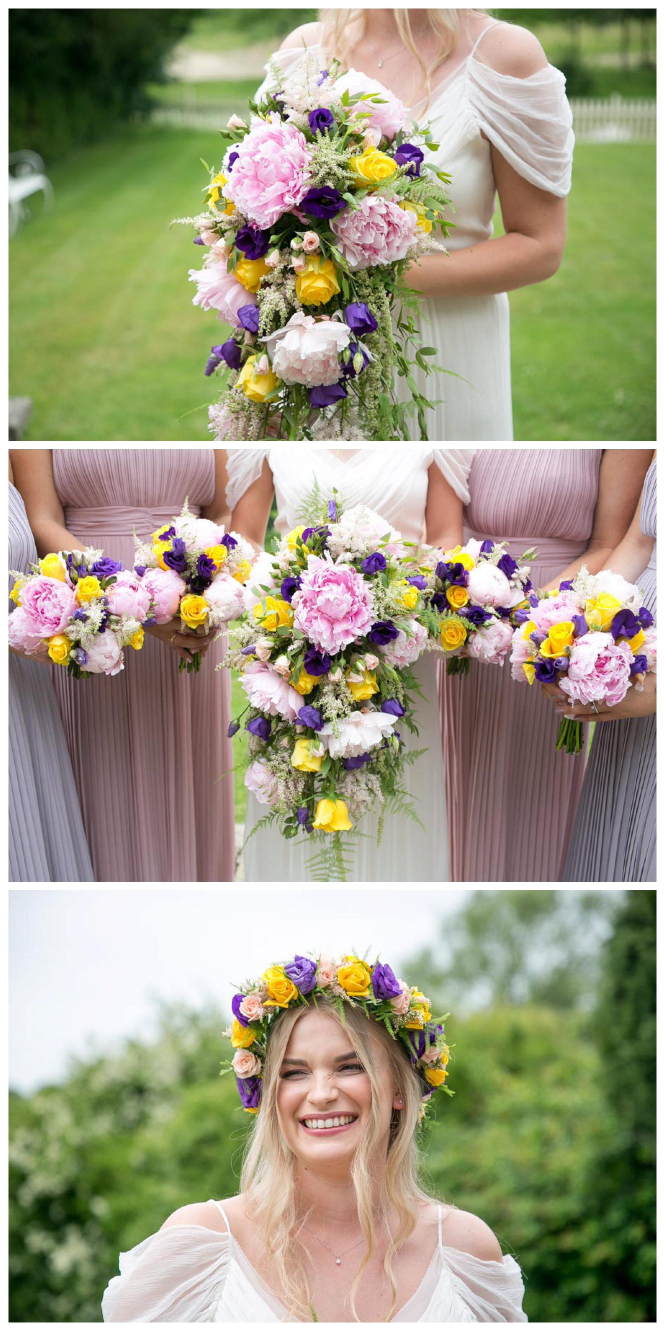 pink purple and yellow flowers in brides bouquet, bridesmaids holding flowrs, bride with flower crown