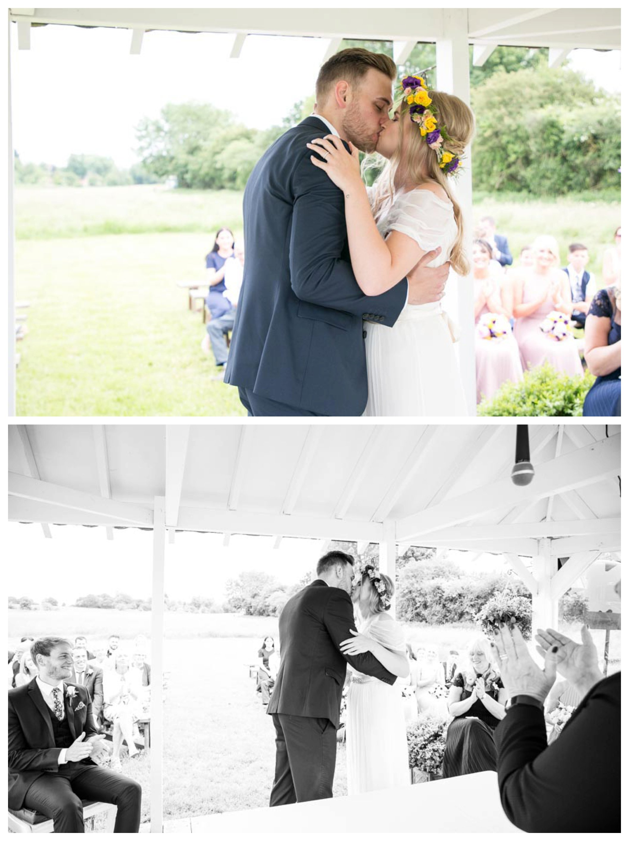 first kiss at reid rooms out door ceremony