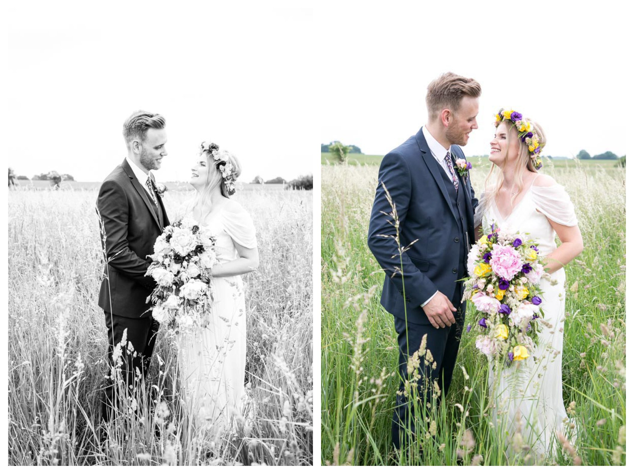 bride and groom happy and relaxed in corn field