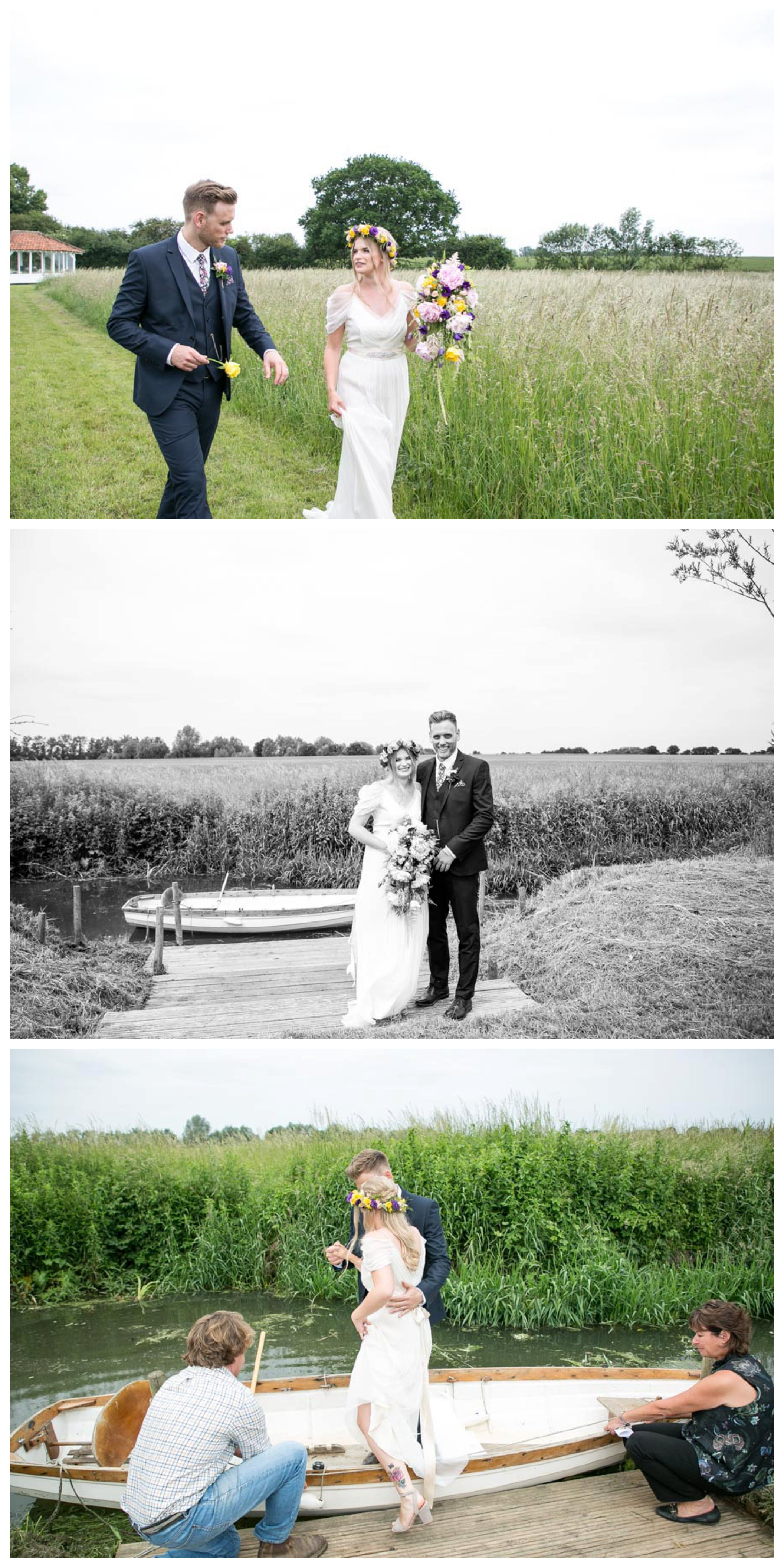 relaxed couple just married, walking along in field, standing near boat and getting onto rowing boat