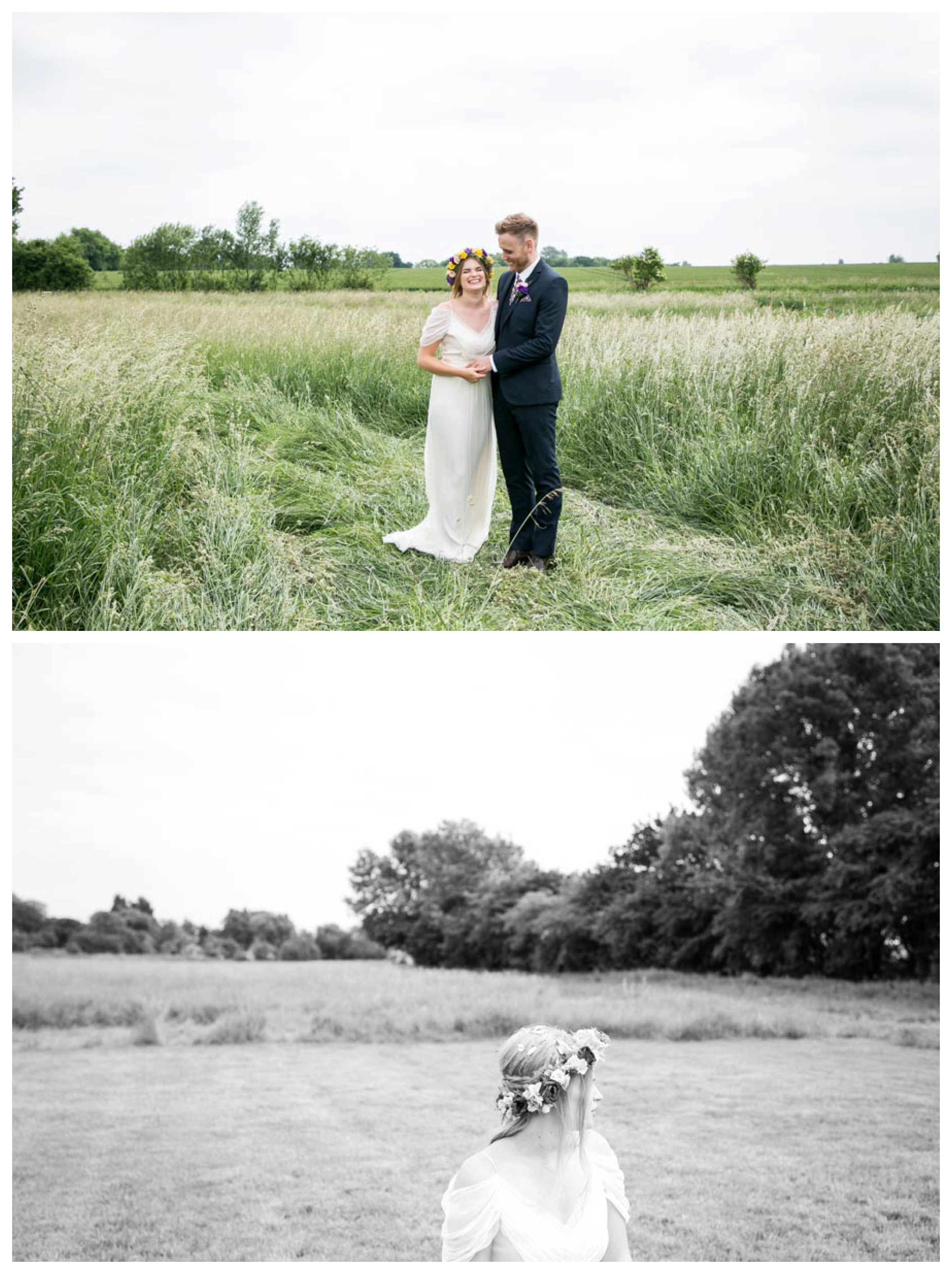 laughing couple in a field after their outdoor wedding ceremony