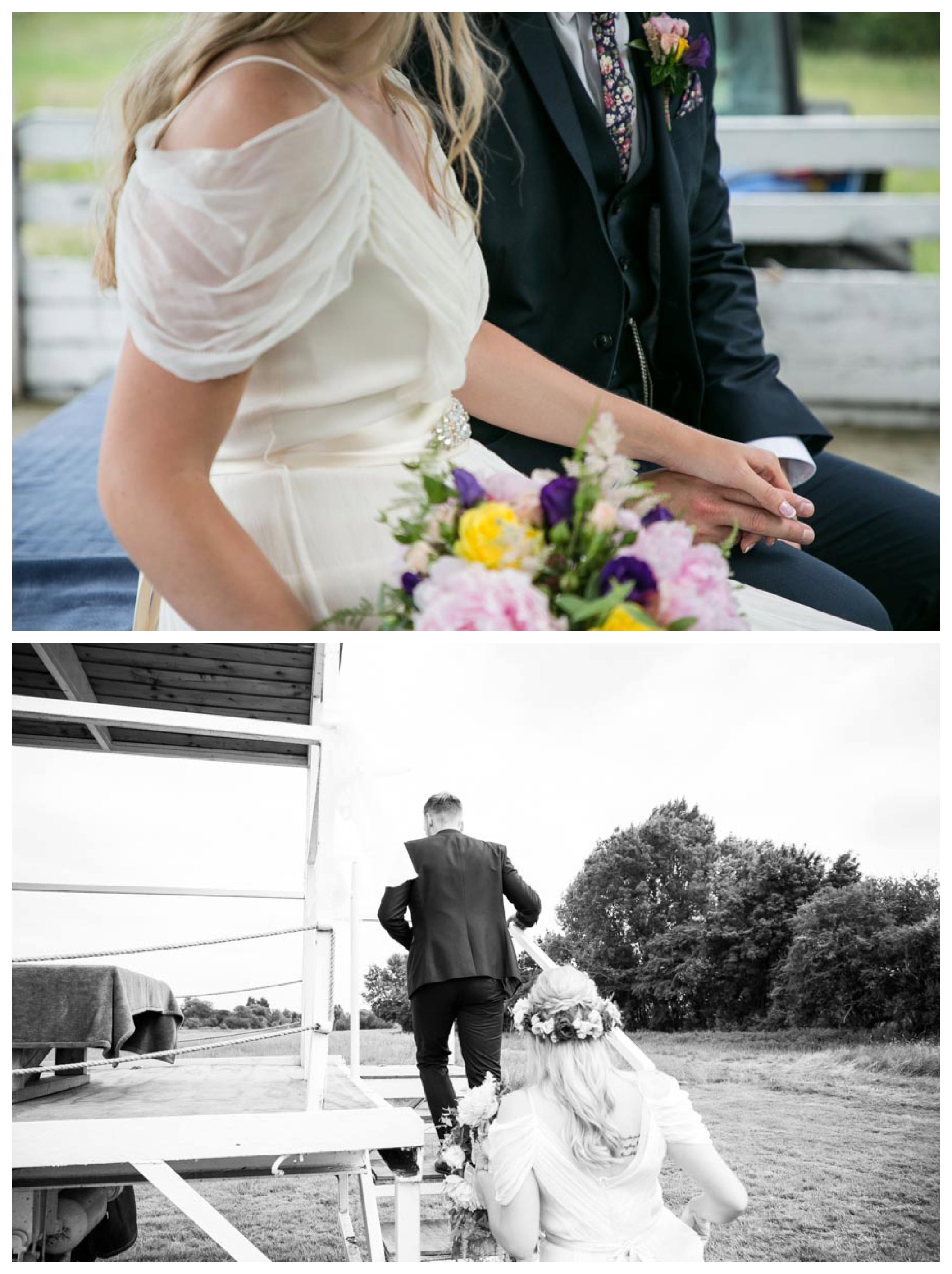 bride and groom getting onto tractor trailer and holding hands after their outdoor ceremony