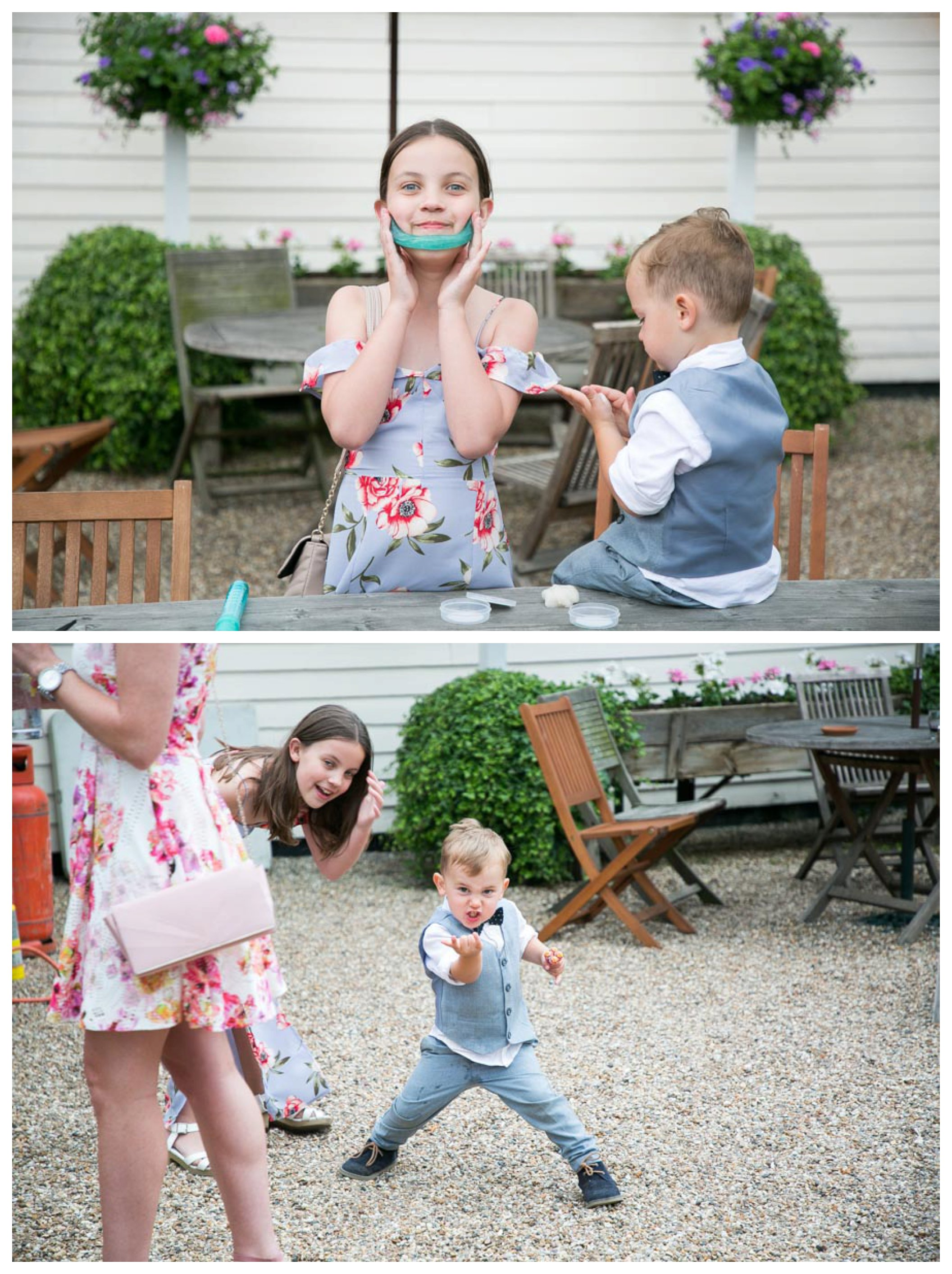 kids playing and having fun at out door wedding reception