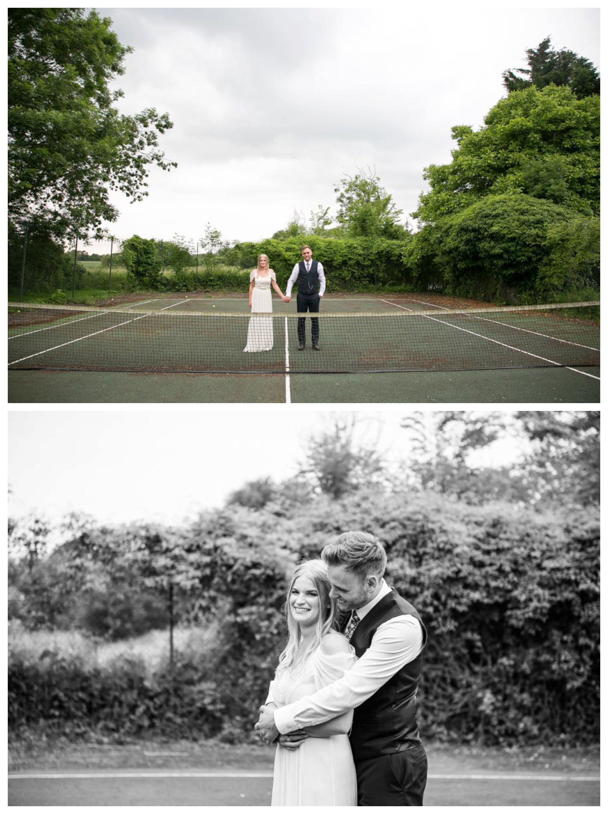 bride and groom stand on disused tennis court holding handa and cuddling