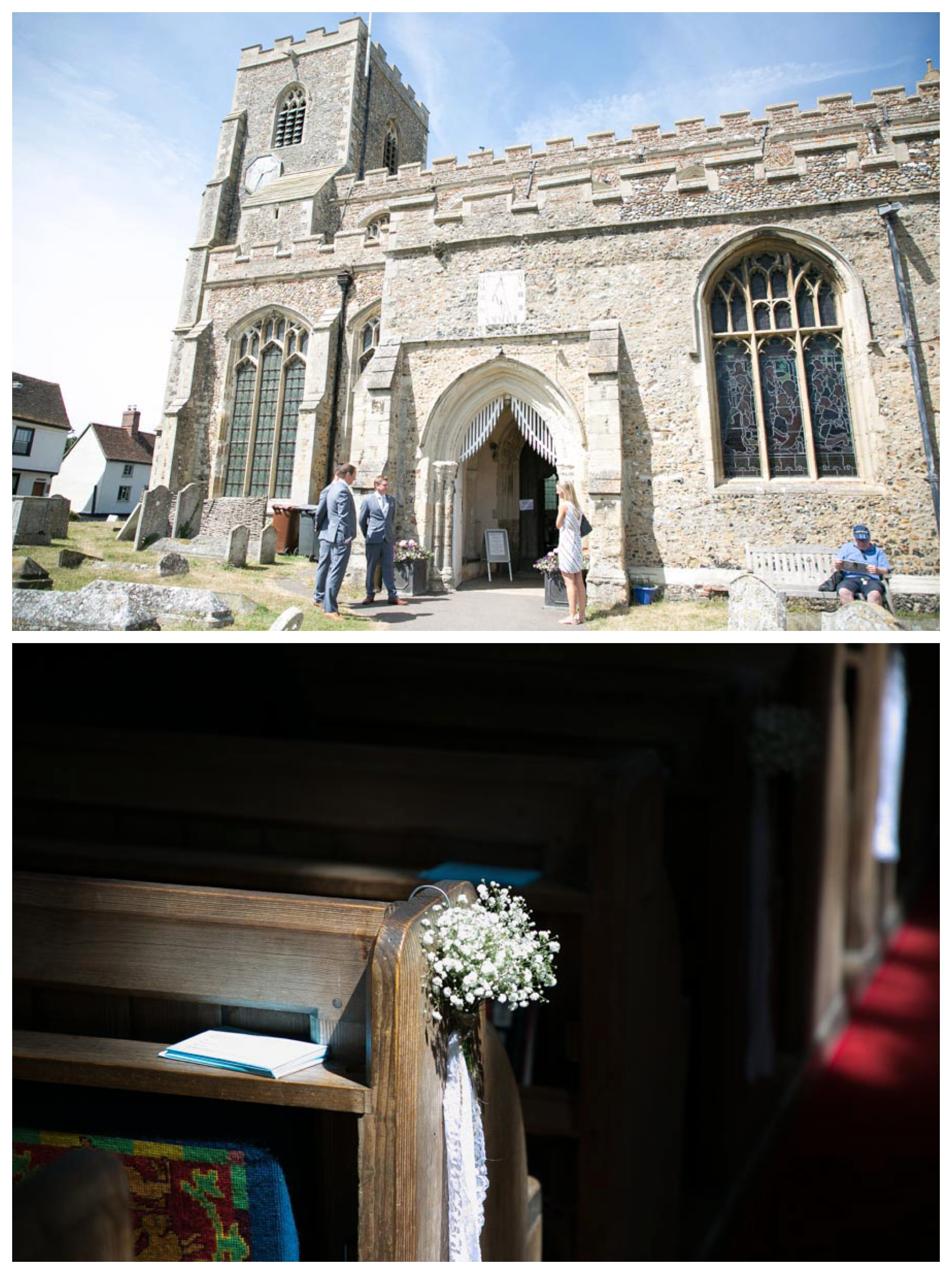 groom waiting outside the church in Clare Suffolk