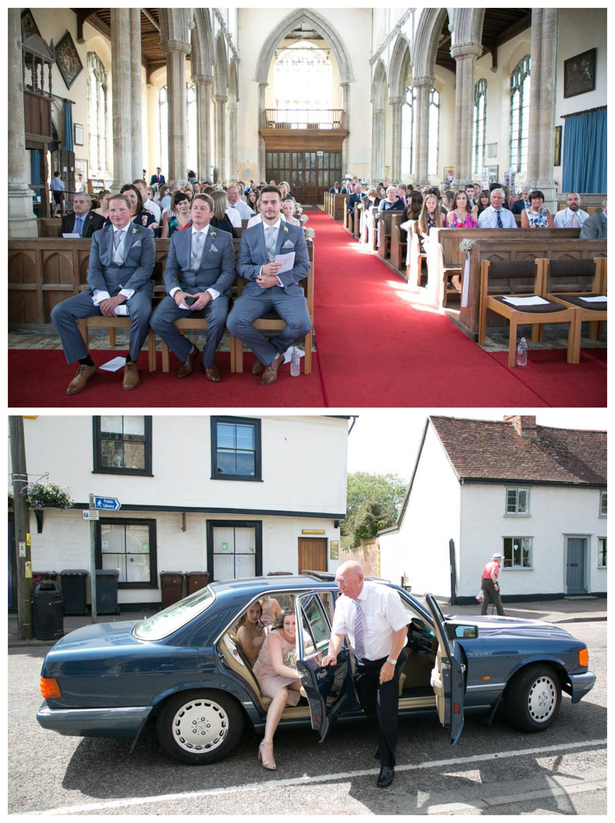 groom waiting inside church and bridesmaids arriving in car