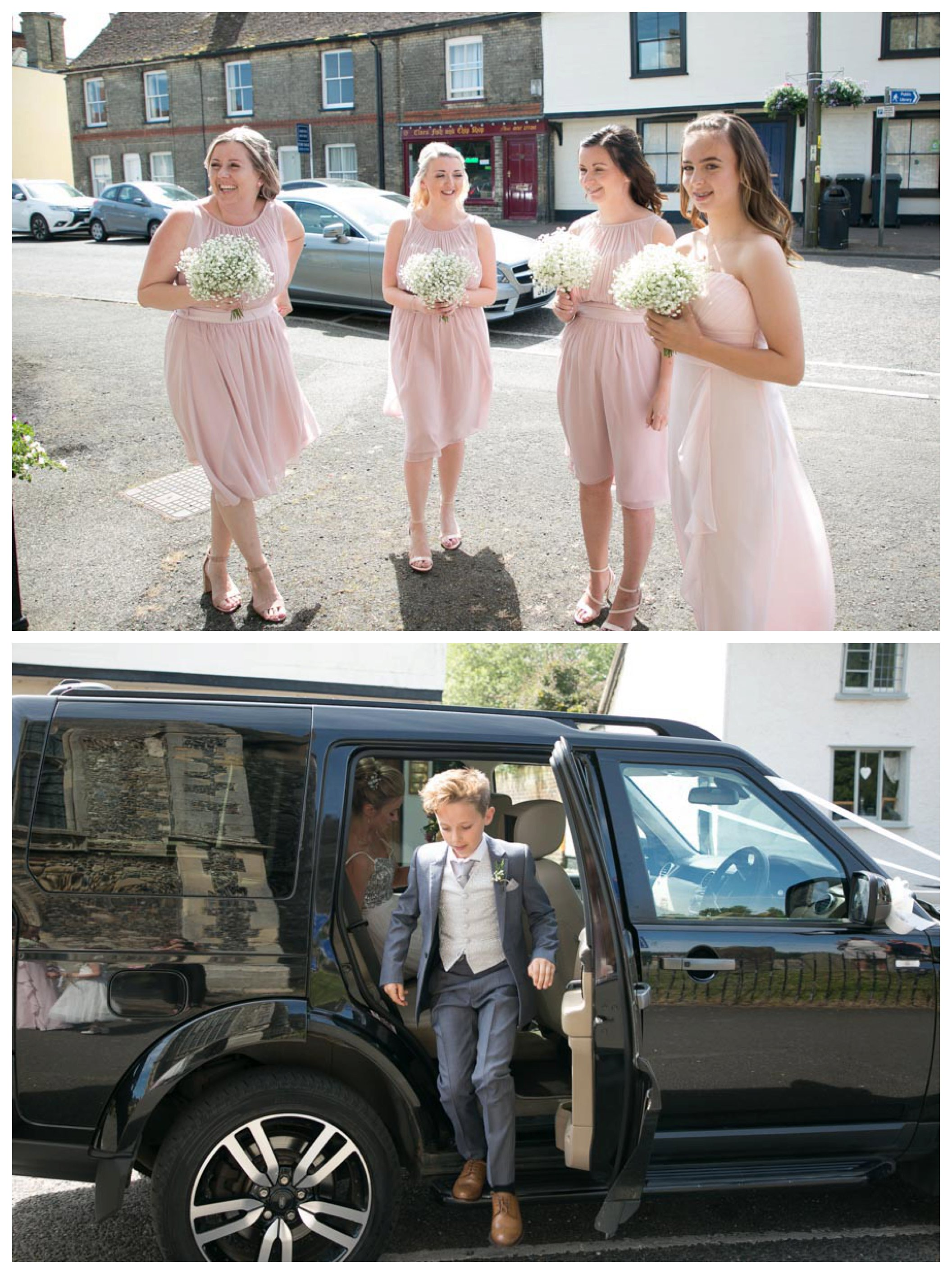 bridesmaids in pink waiting outside church in Suffolk