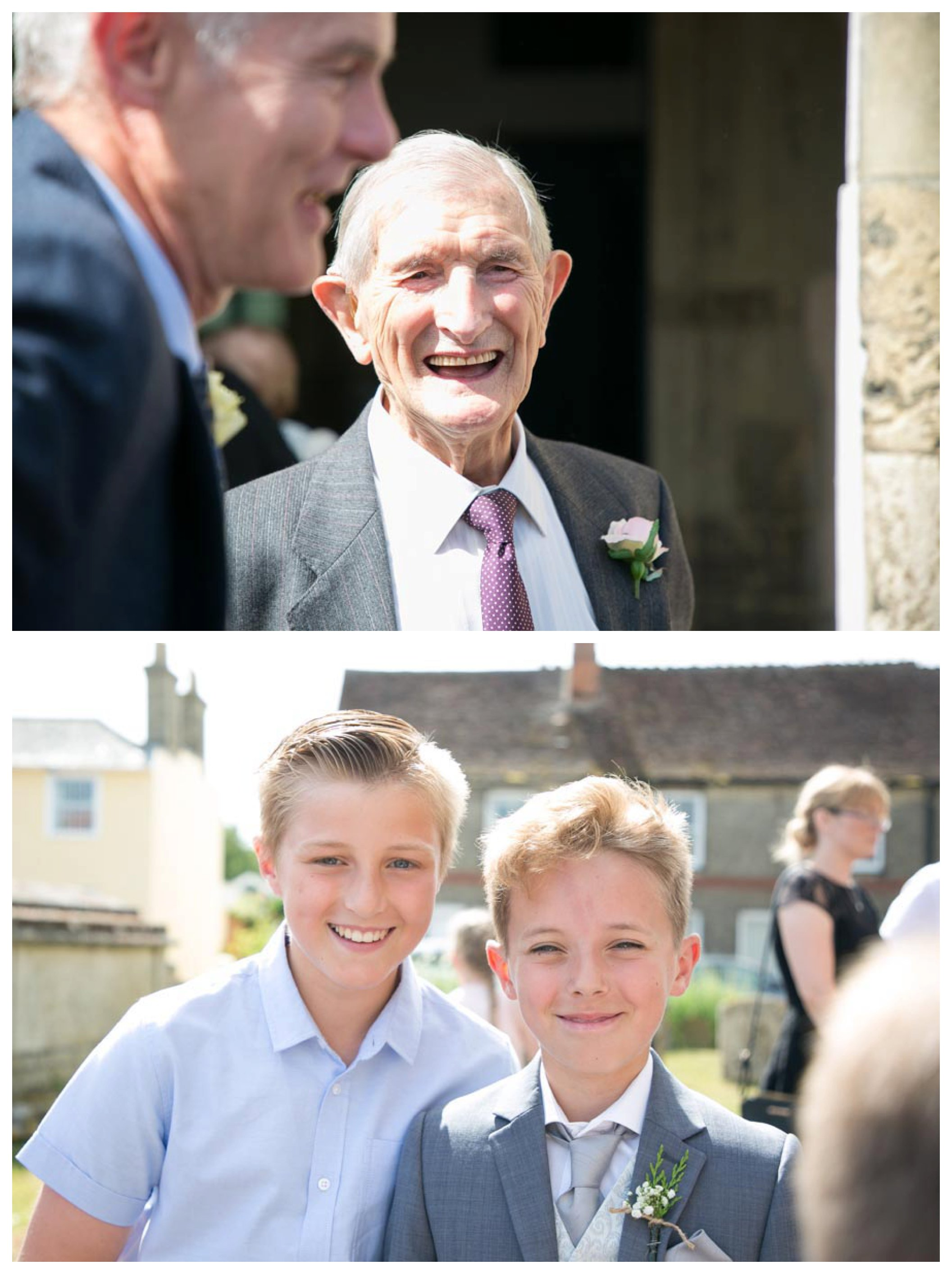 smiling grandad and grandsons out side suffolk church after wedding