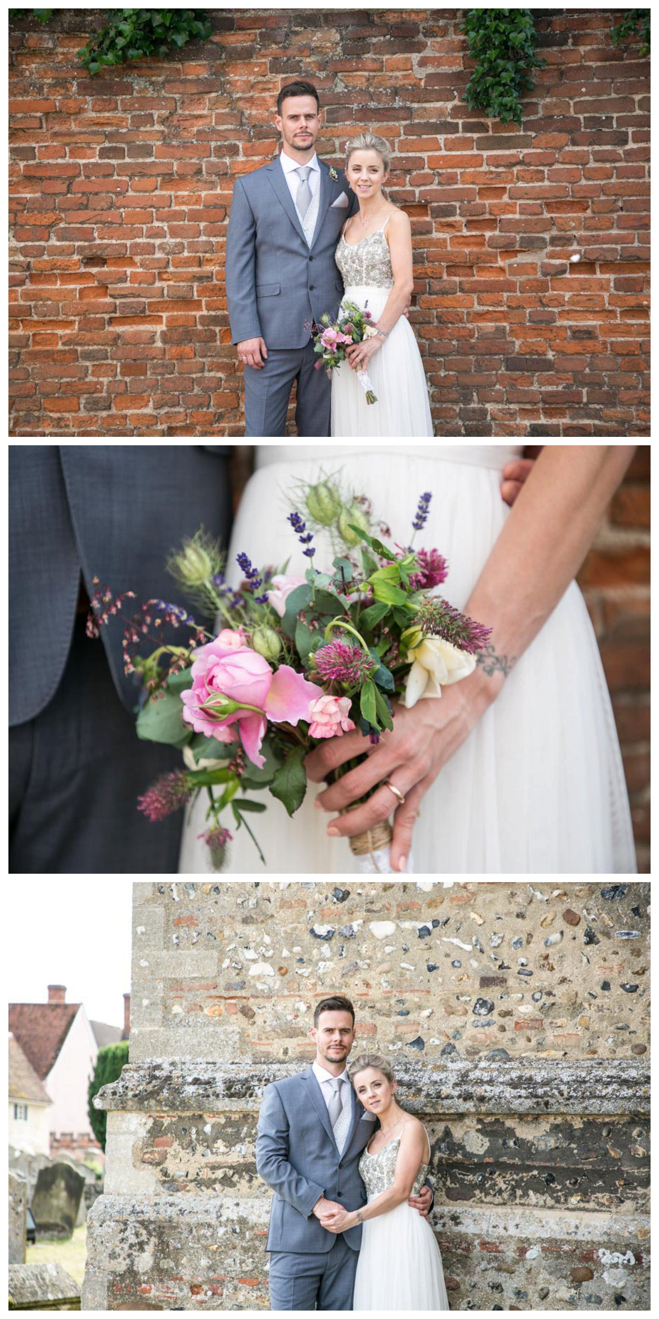 relaxed bride and groom portraits at church in suffolk