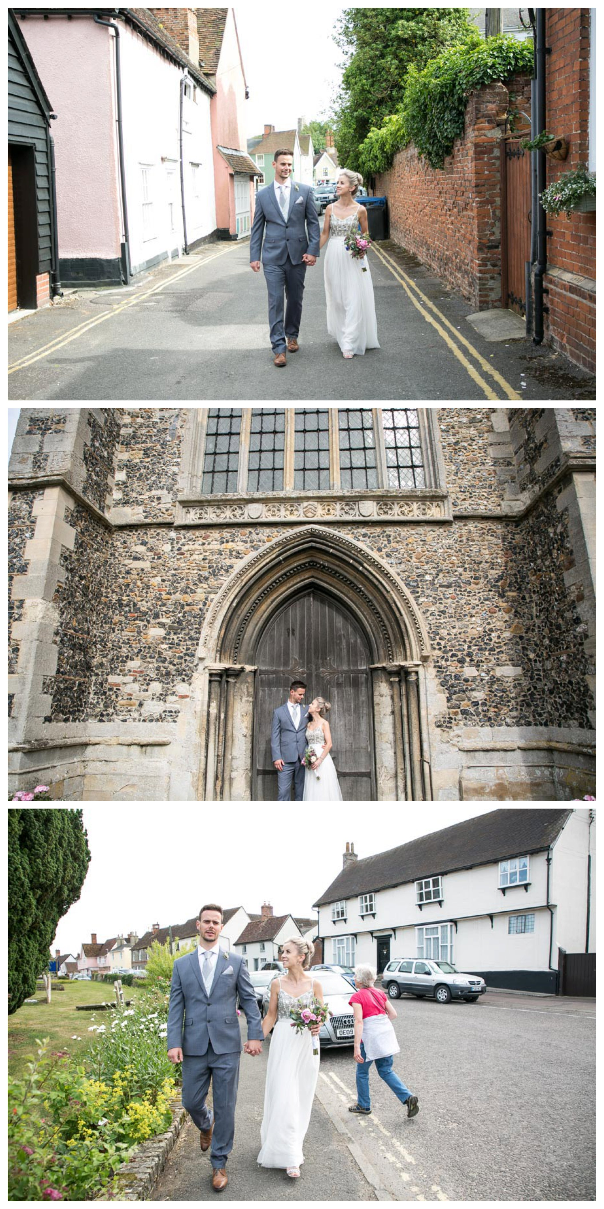 bride and groom walking along street, and stanging in church doorway