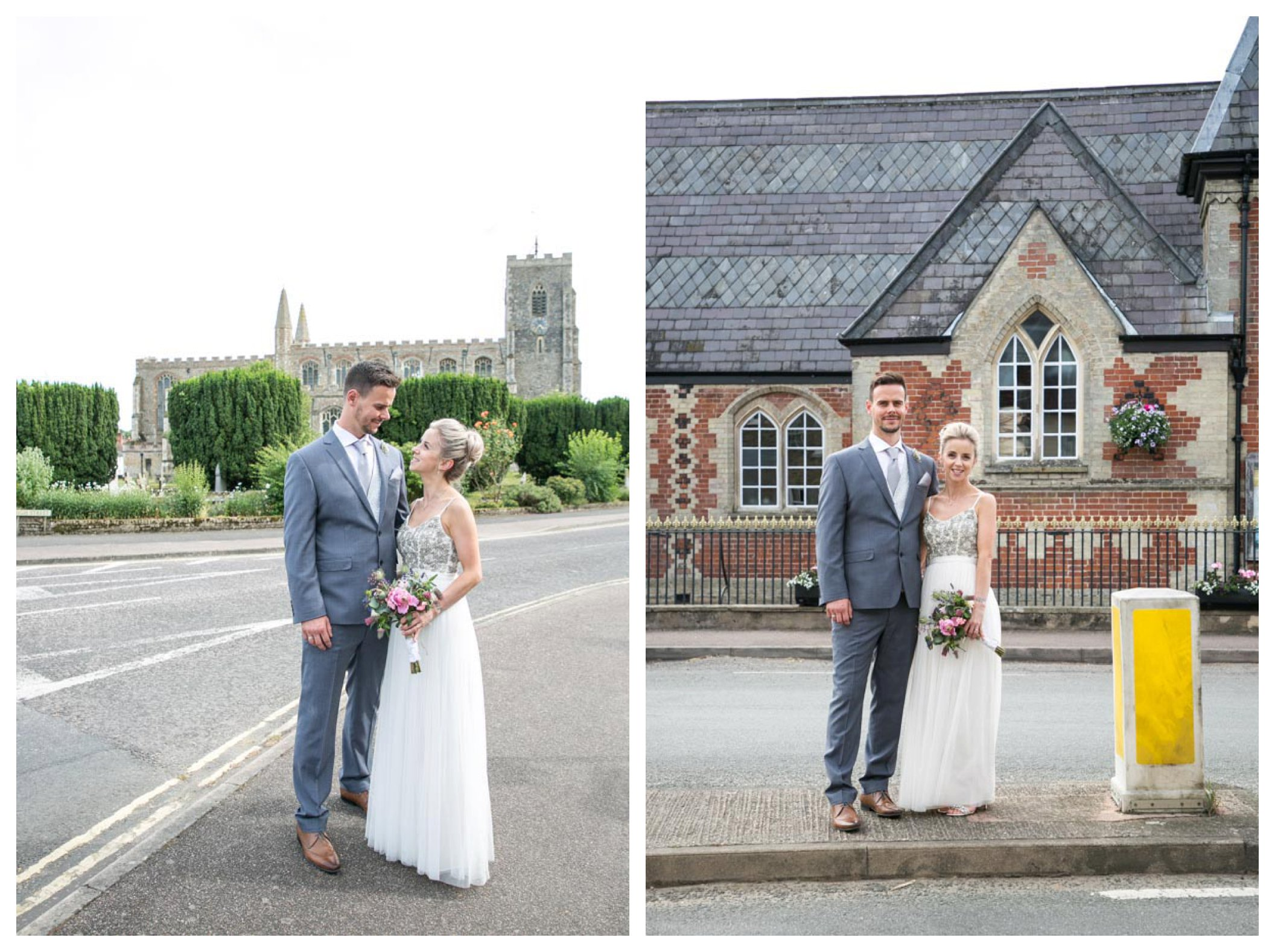 bride and groom standing near church in Clare Suffolk