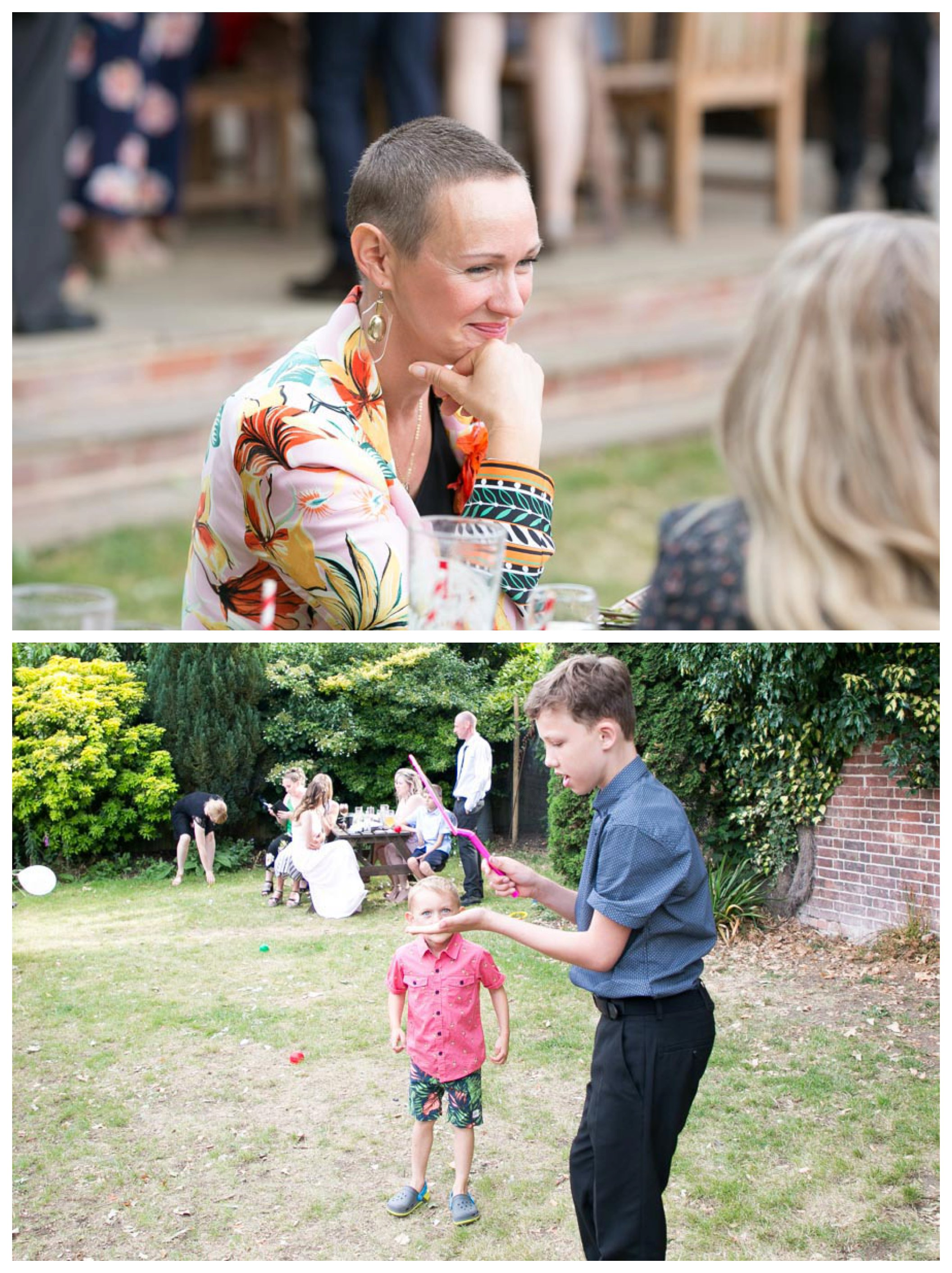 guests smiling and children playing at wedding reception in pub garden