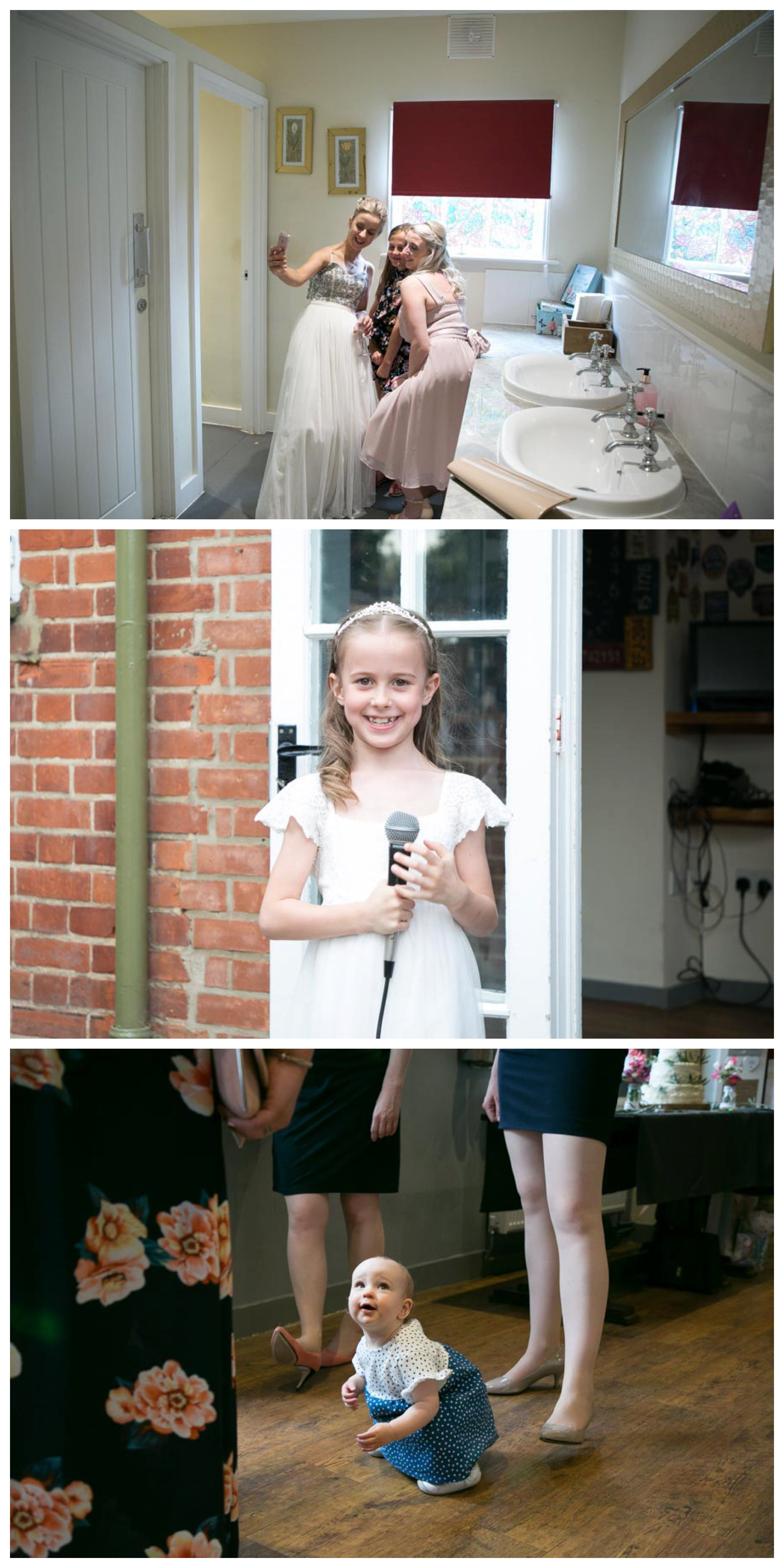 brides selfie in pub toilet, flower girlwith microphone, toddler near adults feet