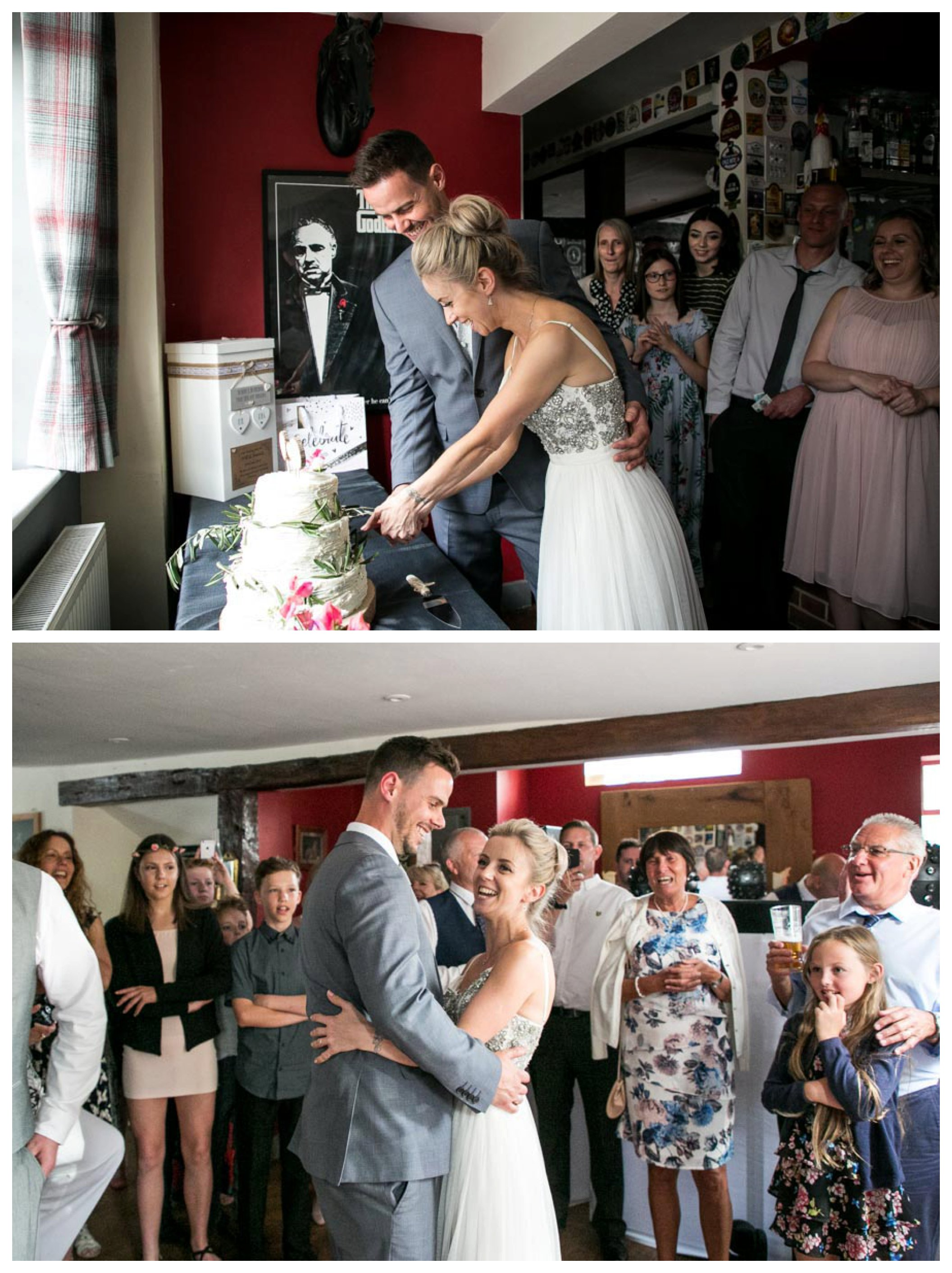 bride and groom cutting cake and having first dance at pub wedding