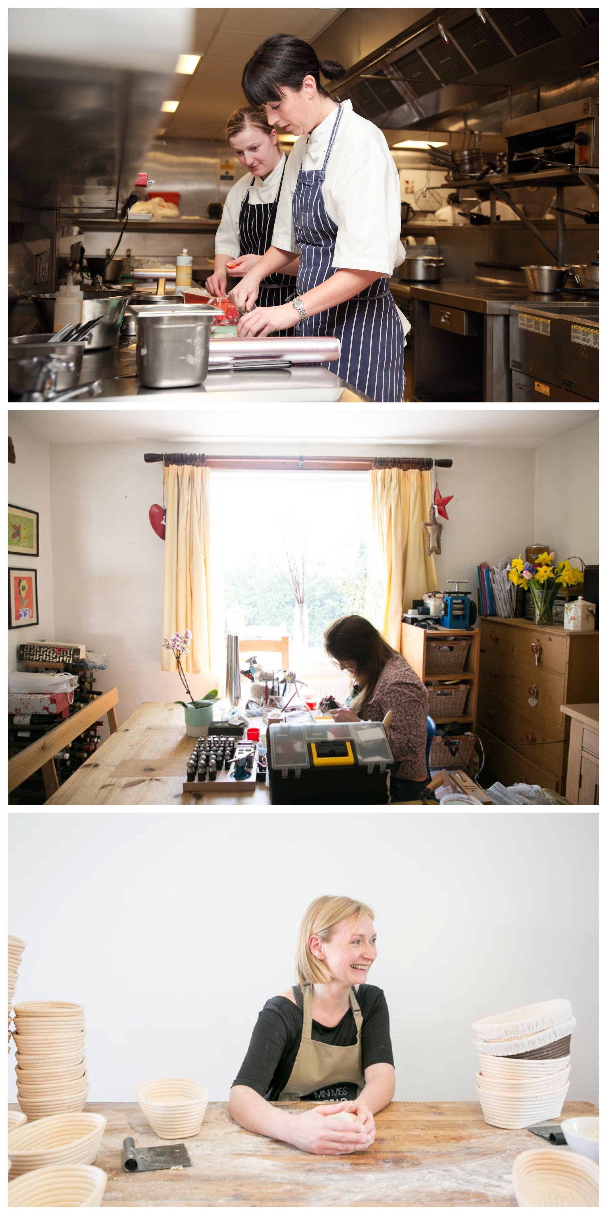 chef working in a kitchen, jewler woking in workshop, baker working at table