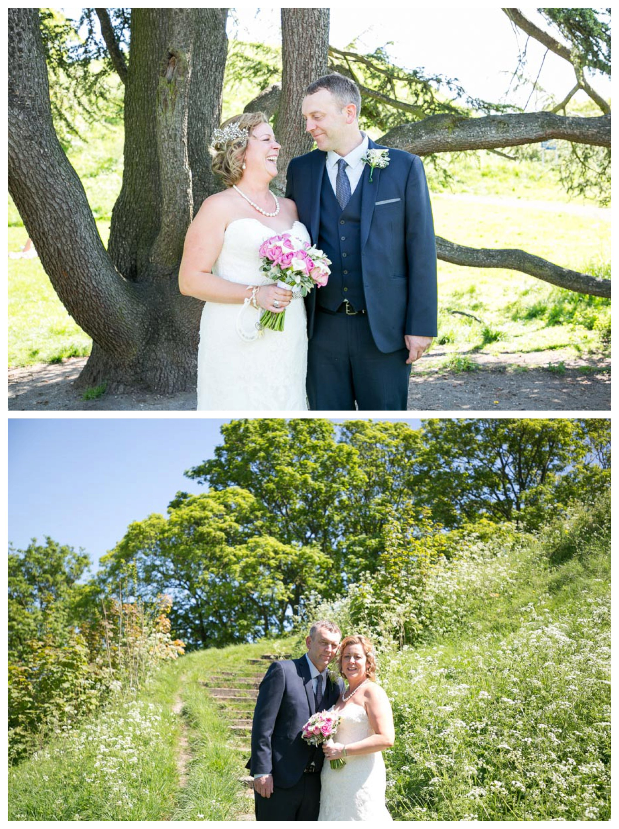 just married couple infront of tree and grass at Cambridge wedding