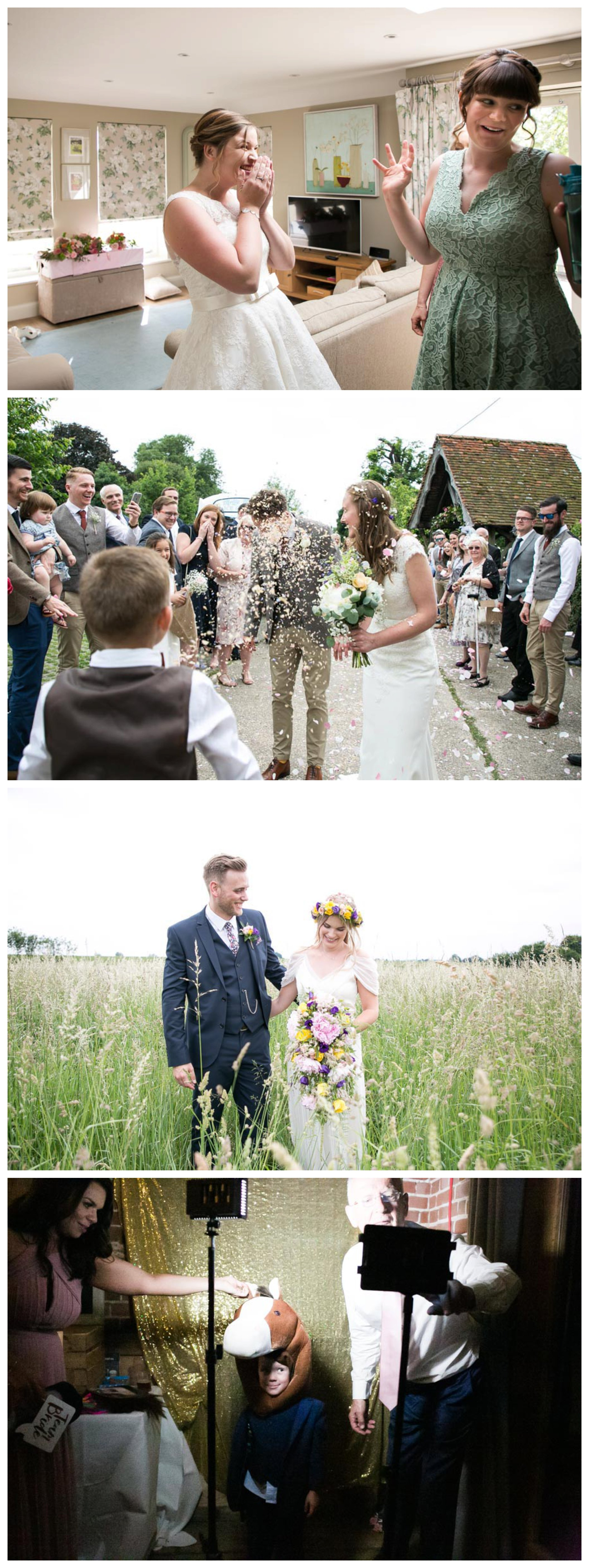 lots of confetti in grooms face at Suffolk wedding