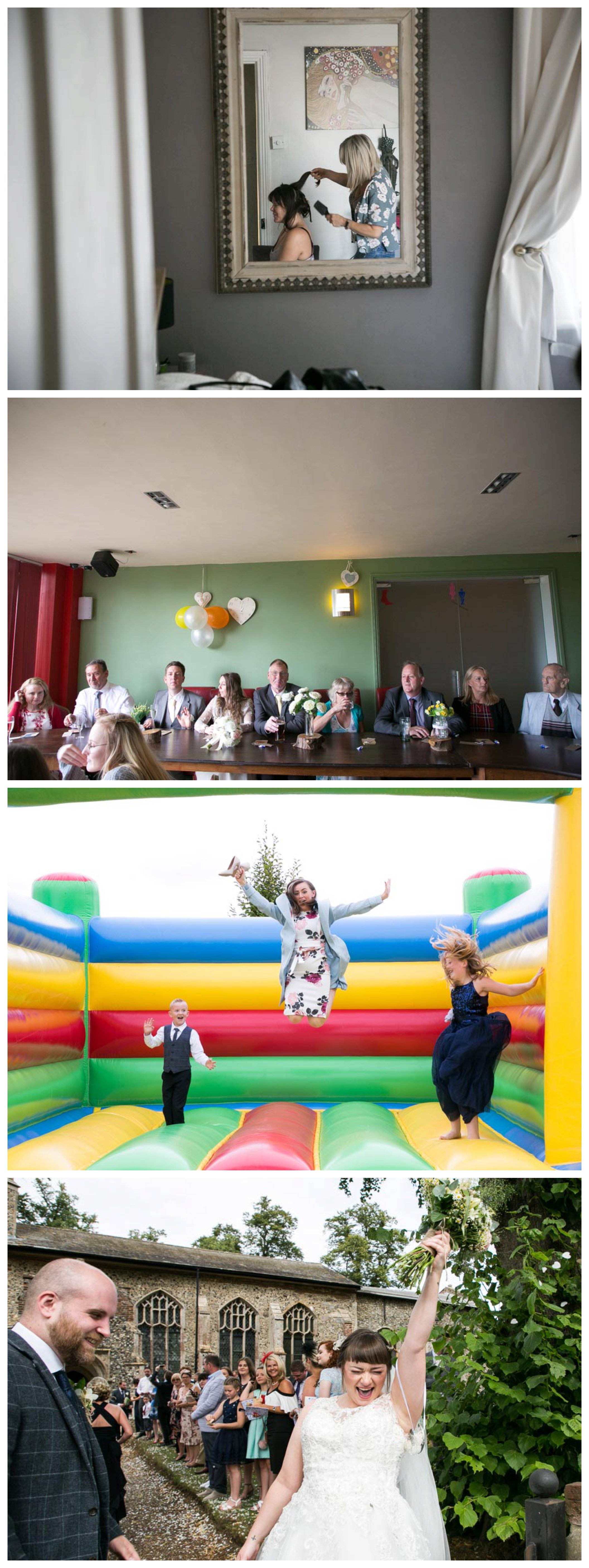 fun bright wedding photography, bouncy castle at The Missing Sock Cambridge