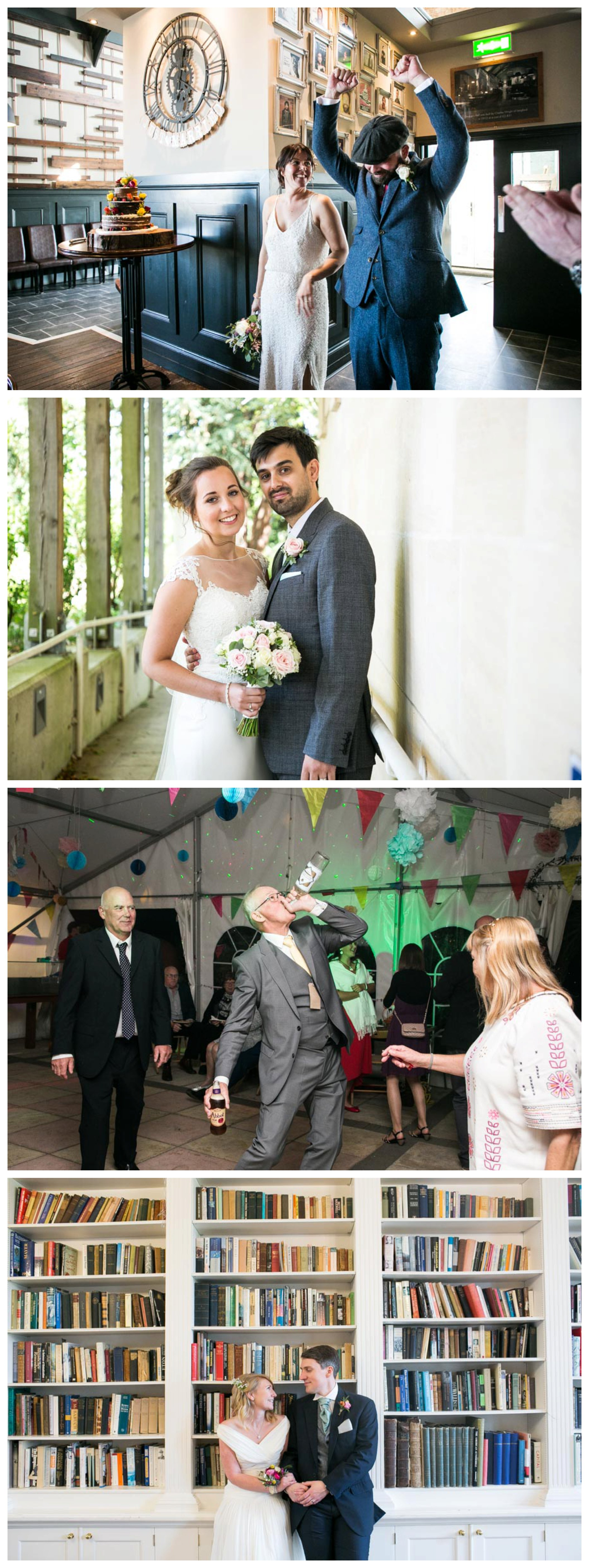 documentary weddng photography, dancing and in a library