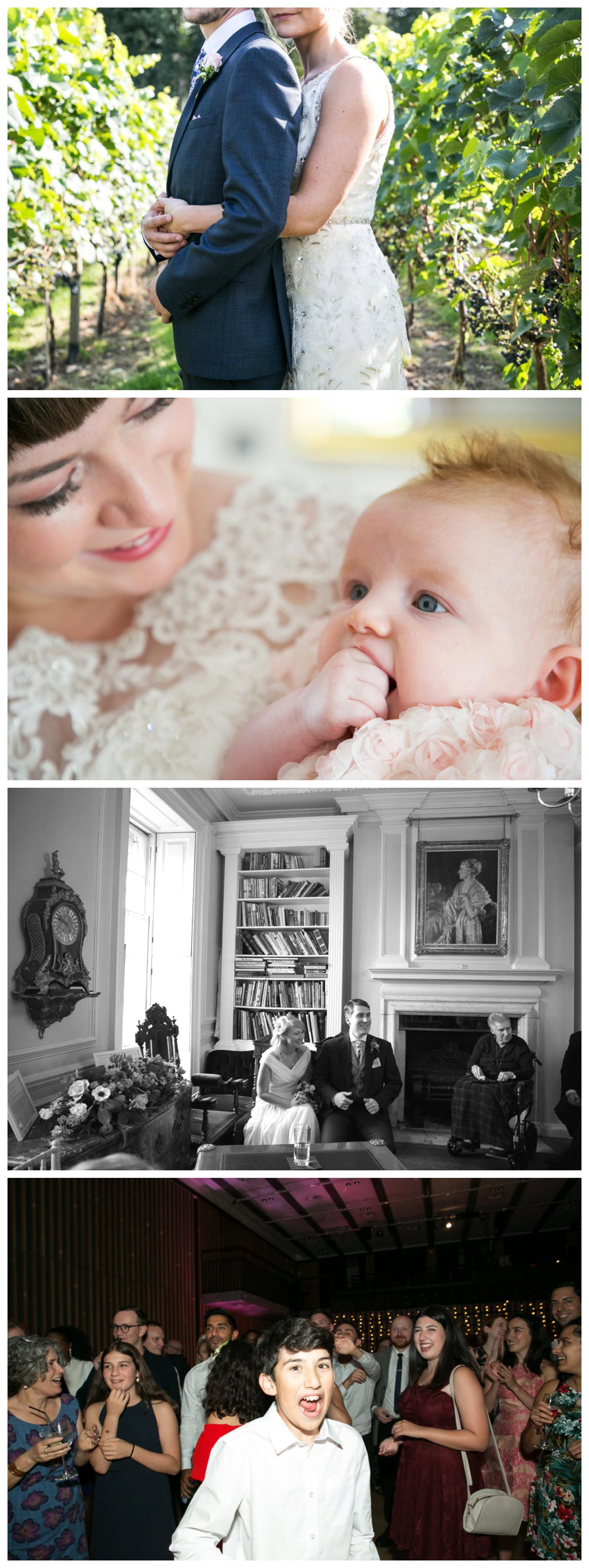 wedding portraits at vineyard in suffolk and in library at Anstey Hall Cambridge