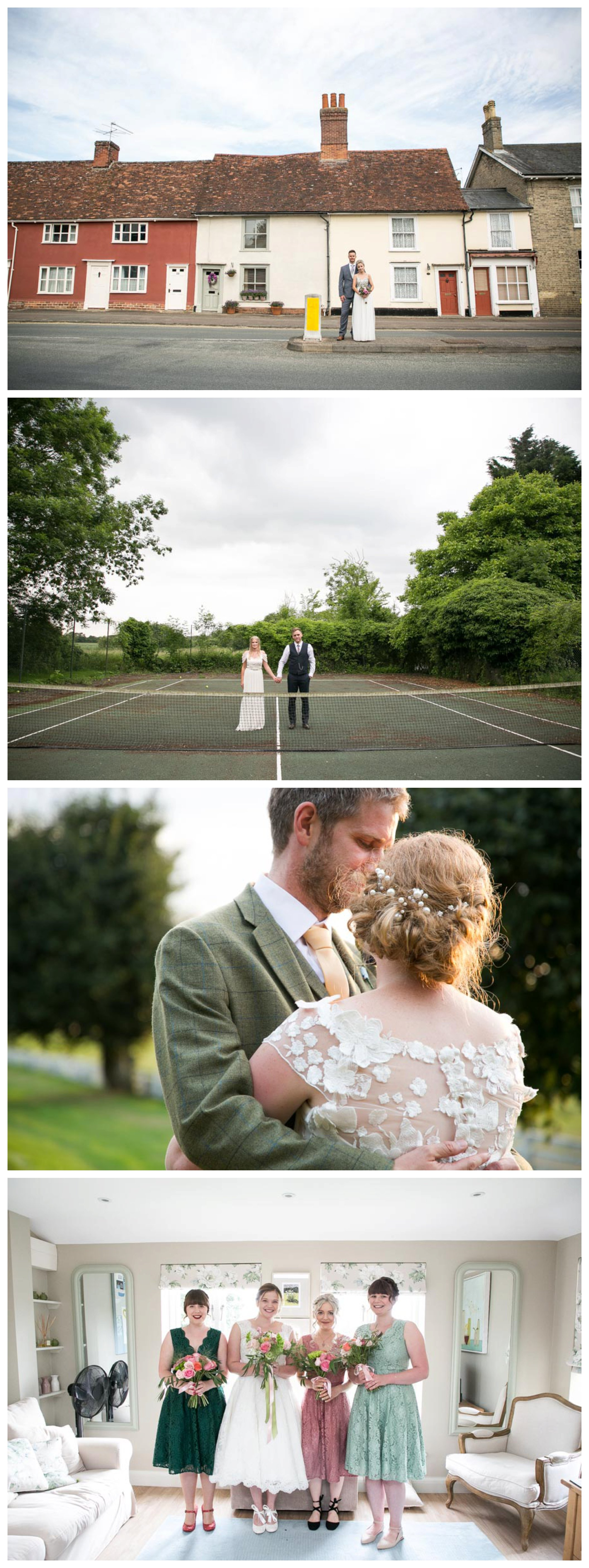 just married couple holding hands on disused tennis court