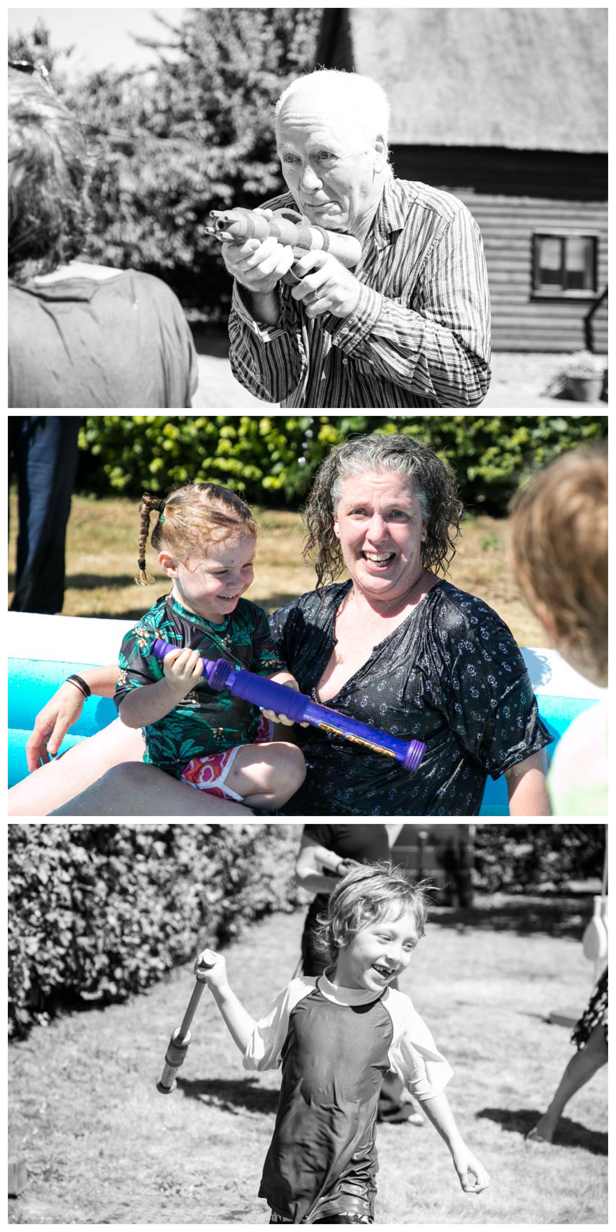 fun water fight with 3 generations at summer photo shoot in suffolk