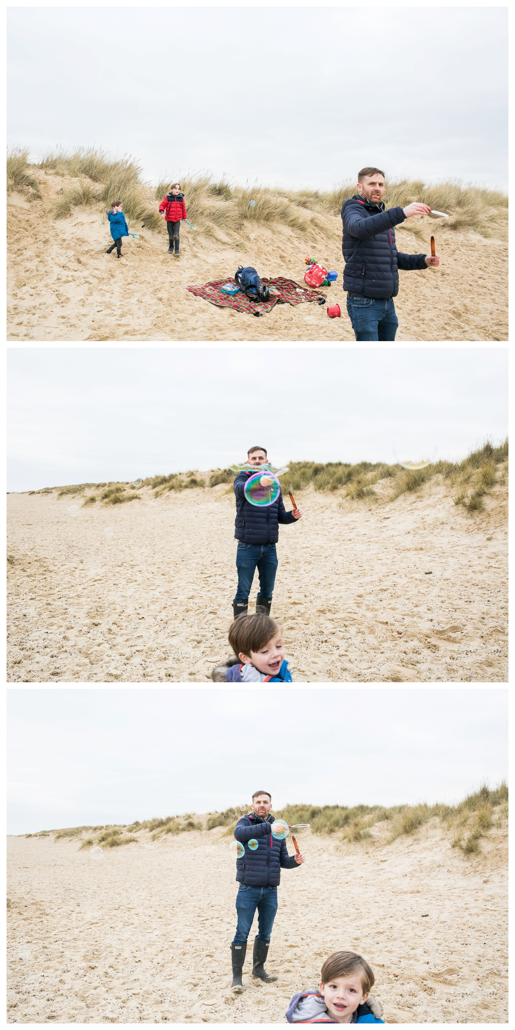 blowing bubbles on the beach in winter