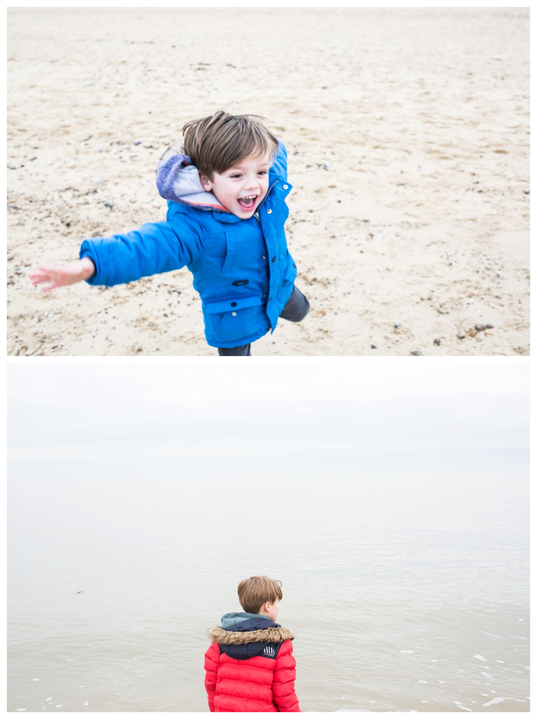 jumping boy and boy looking out to sea at Southwold beach