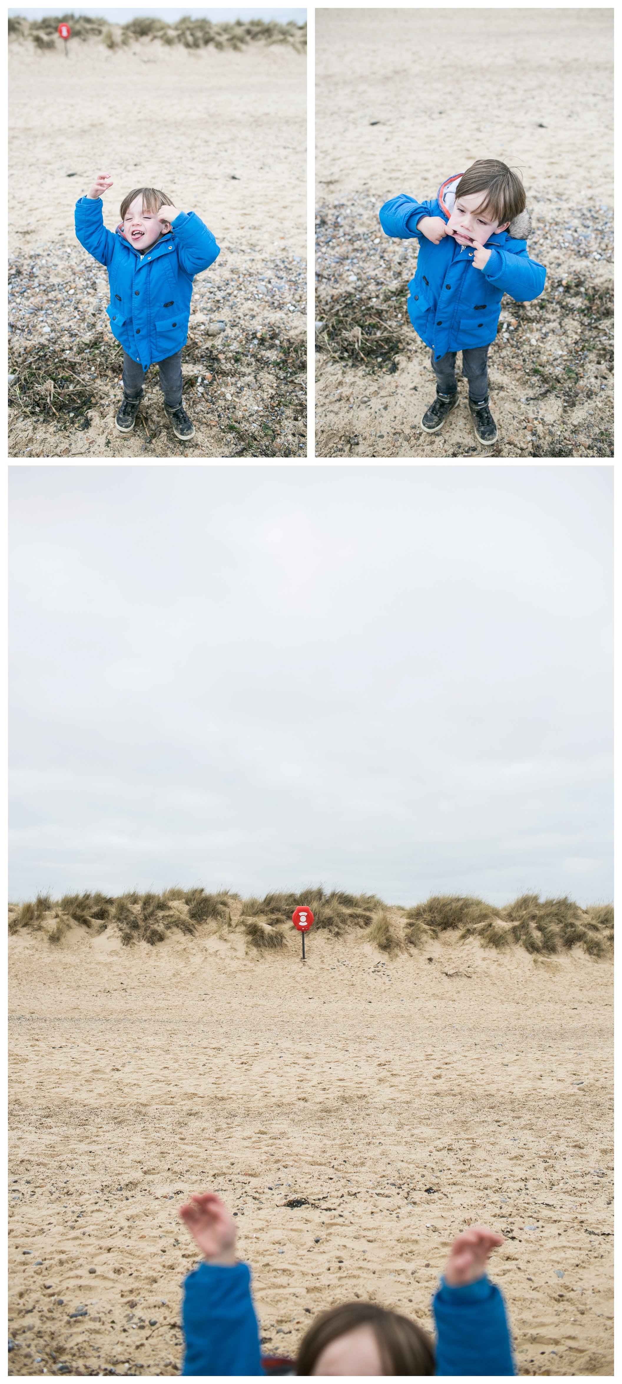 boy pulling faces at southwold beach