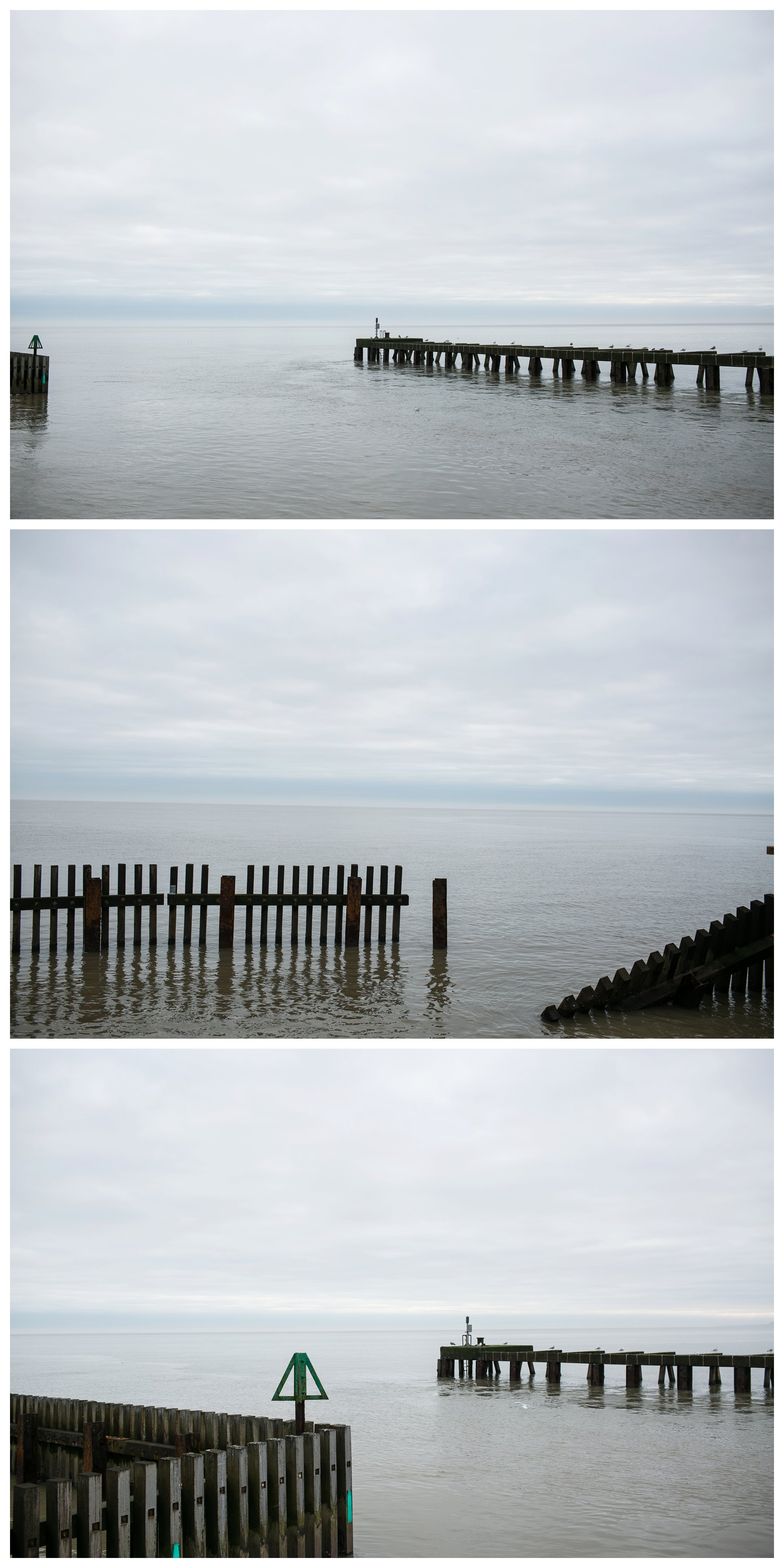 fances in sea at southwold beach
