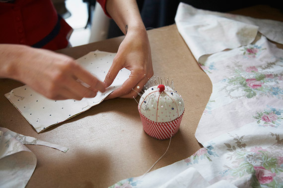 Hands Sewing while crafting