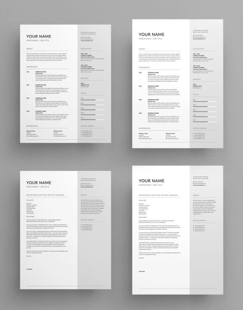 Contemporary And Elegant Resume Template Preview