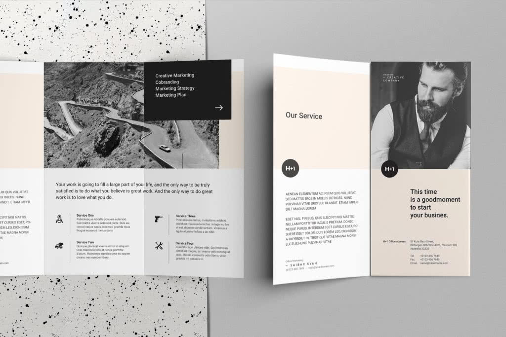 Business Trifold InDesign Template Preview