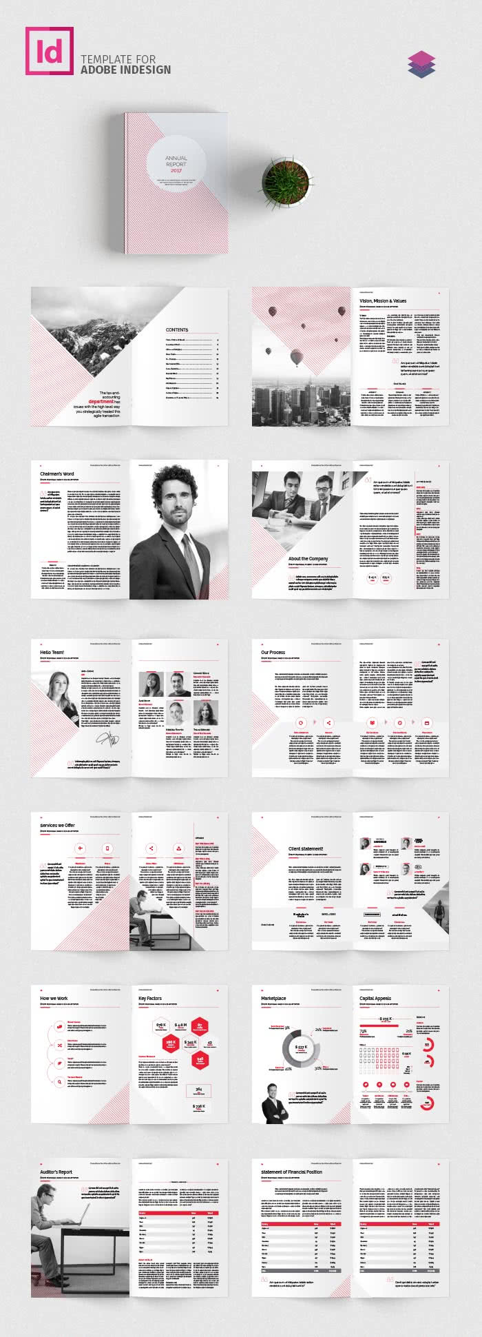 Geometrical Report InDesign Template Preview