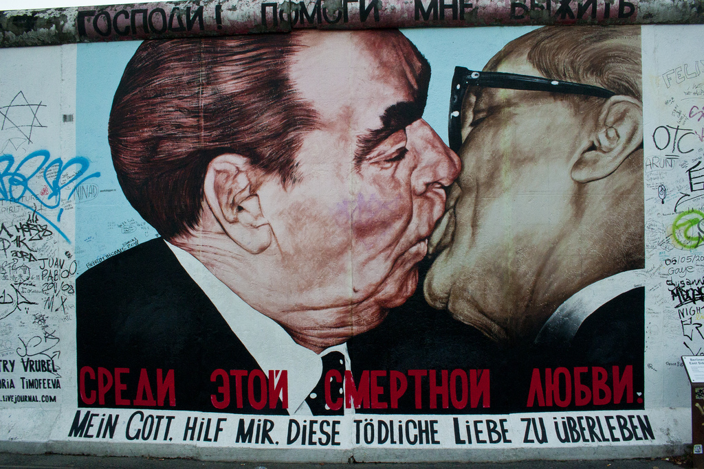 Brezhnev and Honecker on the Berlin Wall. Photo: flickr.