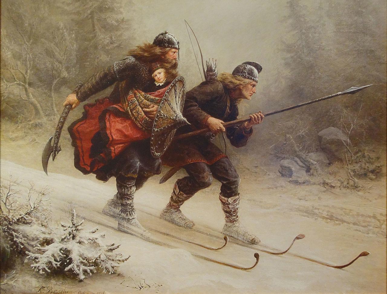 Knud Bergslien -Birkebeinerne(1869). Foto: Wikimedia Commons.