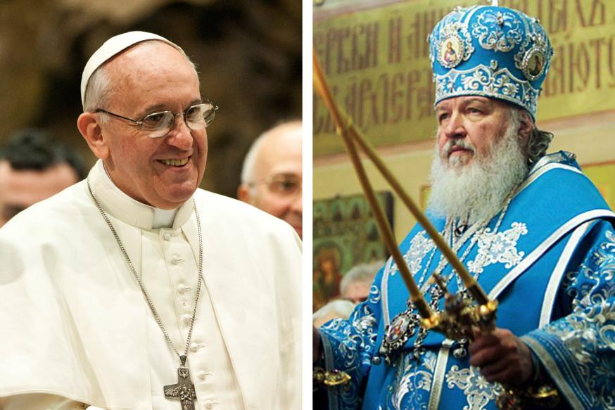 Pave Frans og patriark Kirill. Foto:Edgar Jimenez / Flickr &Larry Koester / Flickr
