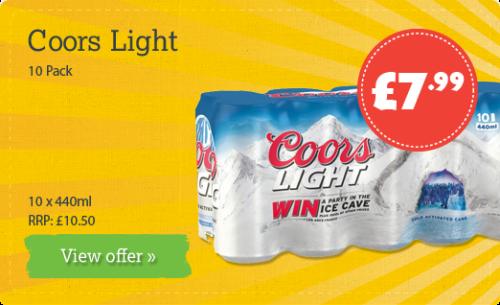 Coors Light 10 Pack - 10 x 440ml