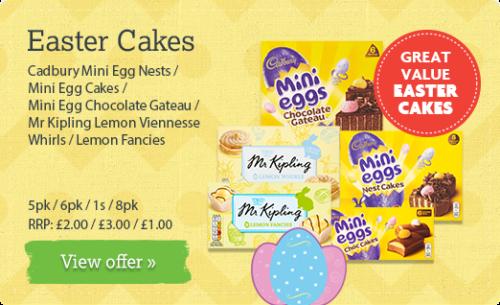 Cadbury Mini Egg Nests / Mini Egg Cakes / Mini Egg Chocolate Gateau / Mr Kipling Lemon Viennesse Whirls / Lemon Fancies - 5pk / 6pk / 1s / 8pk RRP: £2.00 / £3.00 / £1.00