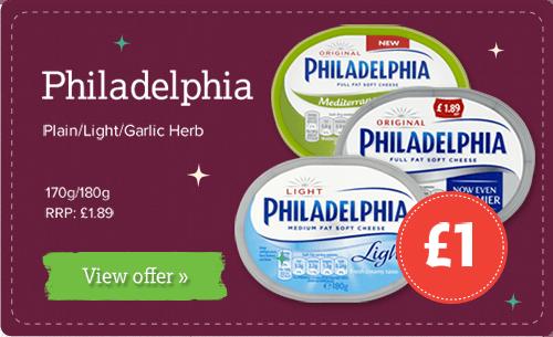 Philadelphia - Plain/Light/Garlic Herb 170/180g £1