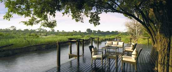 Lounge beside the Sabie River on the deck at Lion Sands
