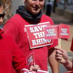 Billy of Rhino Africa protesting against rhino poaching