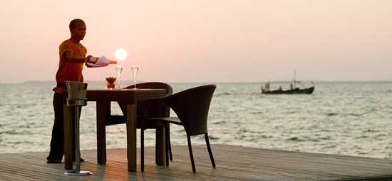 Champagne dinner on the dock in Mauritius
