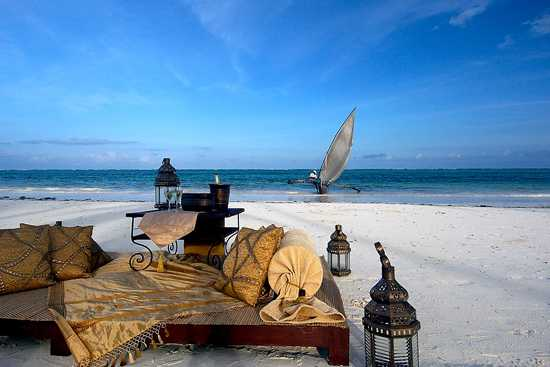 Romantic dinner for two on a beach in Mozambique