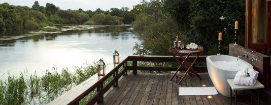 Bathing on the Zambezi's banks